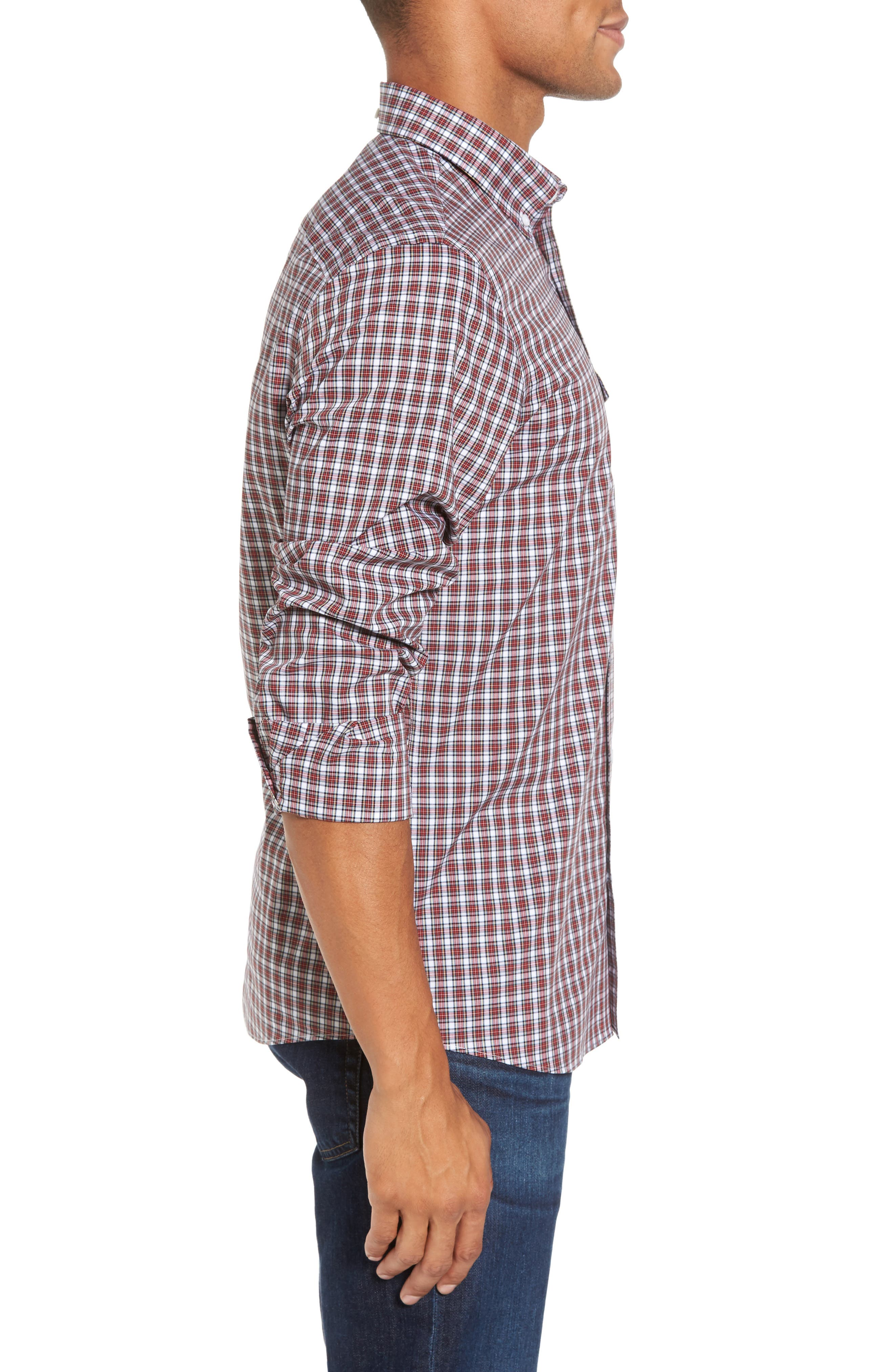 Ivy Trim Fit Non-Iron Tartan Plaid Sport Shirt,                             Alternate thumbnail 3, color,