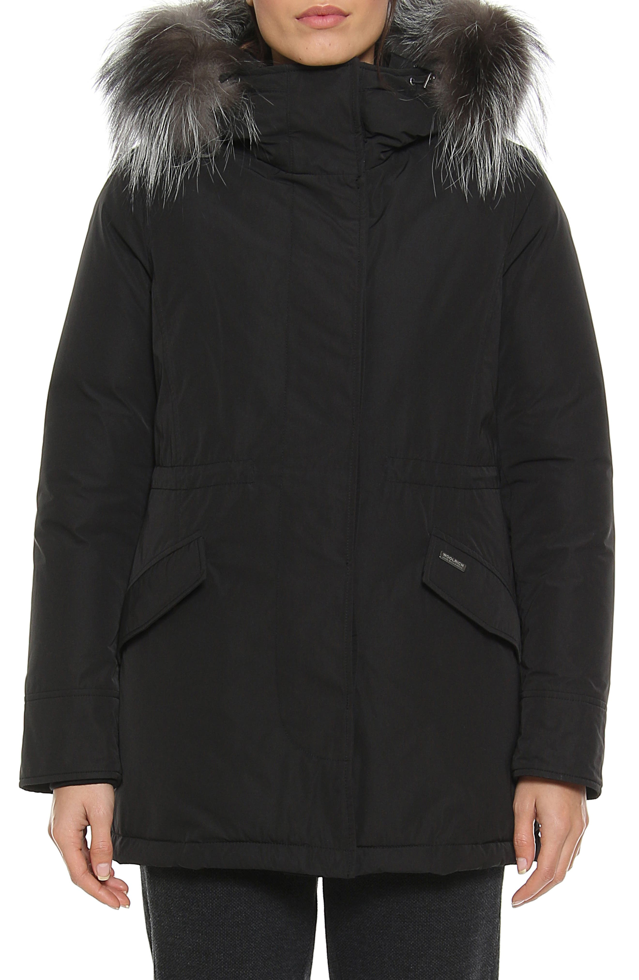 City Arctic Down Parka with Genuine Fox Fur Trim,                             Main thumbnail 1, color,                             BLACK