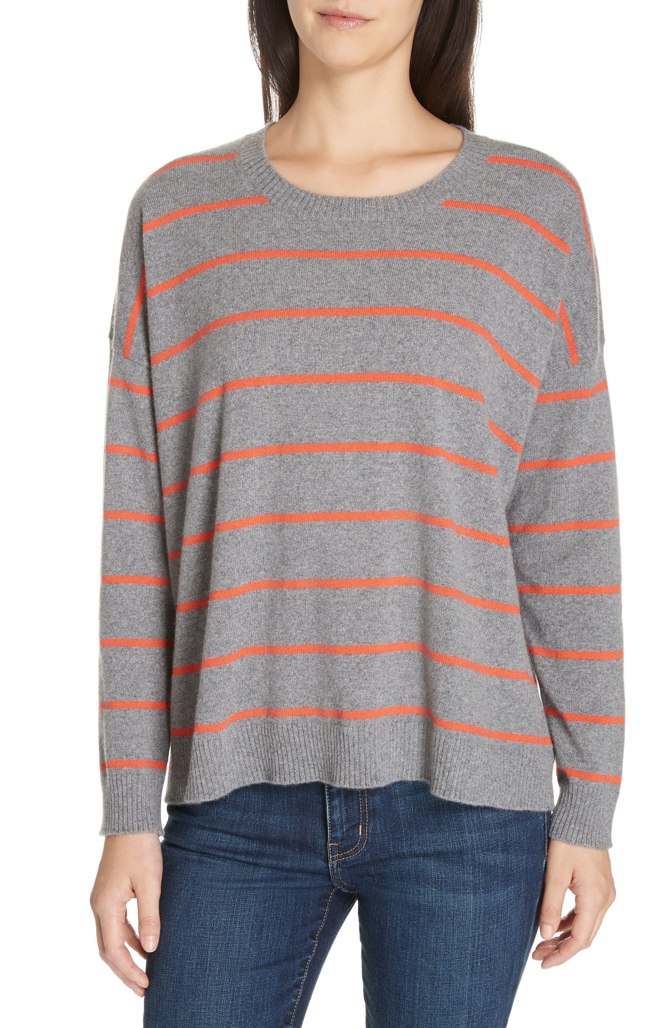 Eileen Fisher Stripe Boxy Cashmere & Wool Sweater, Grey