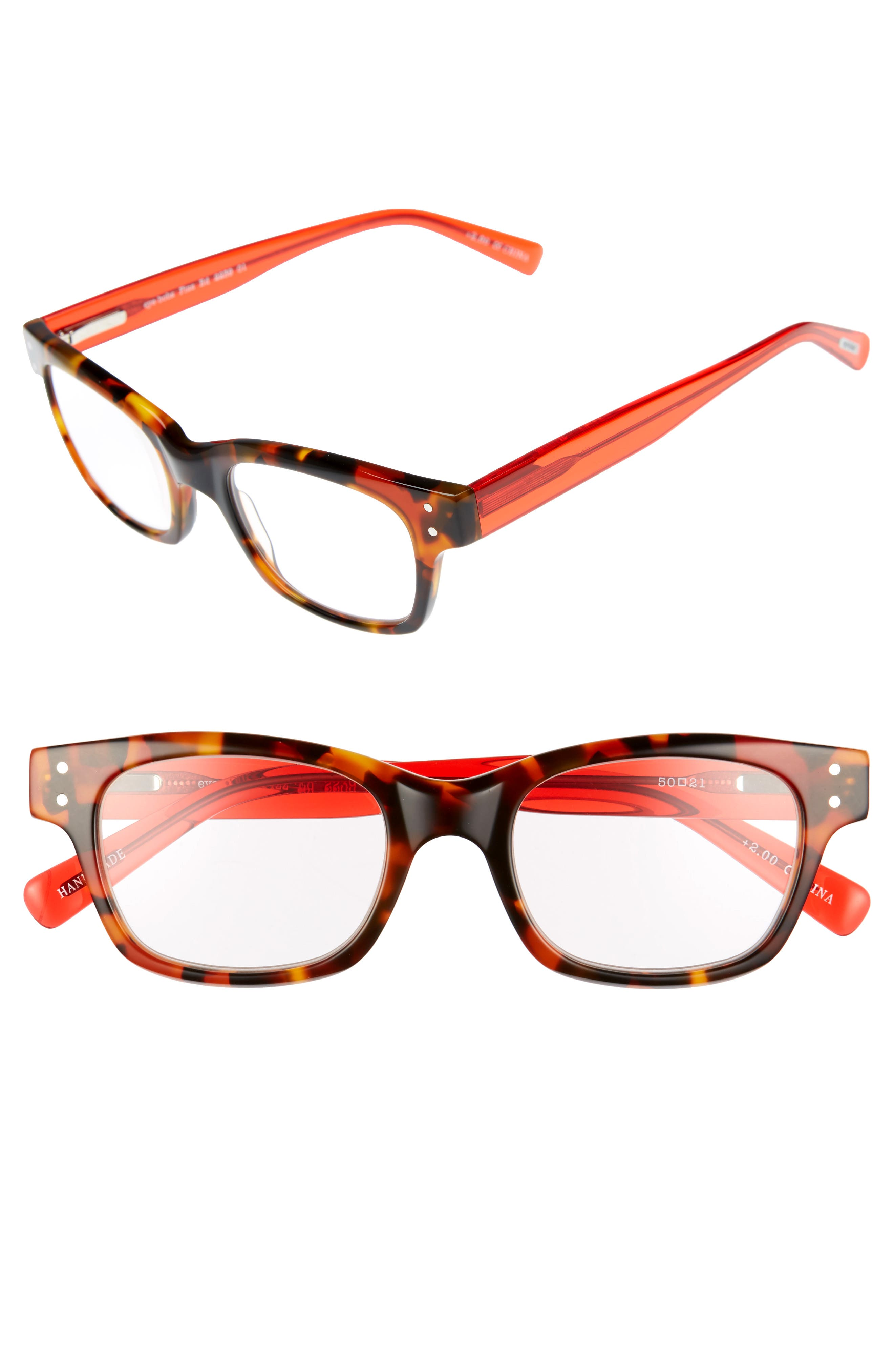 EYEBOBS,                             Fizz Ed 50mm Reading Glasses,                             Main thumbnail 1, color,                             TORTOISE WITH RED