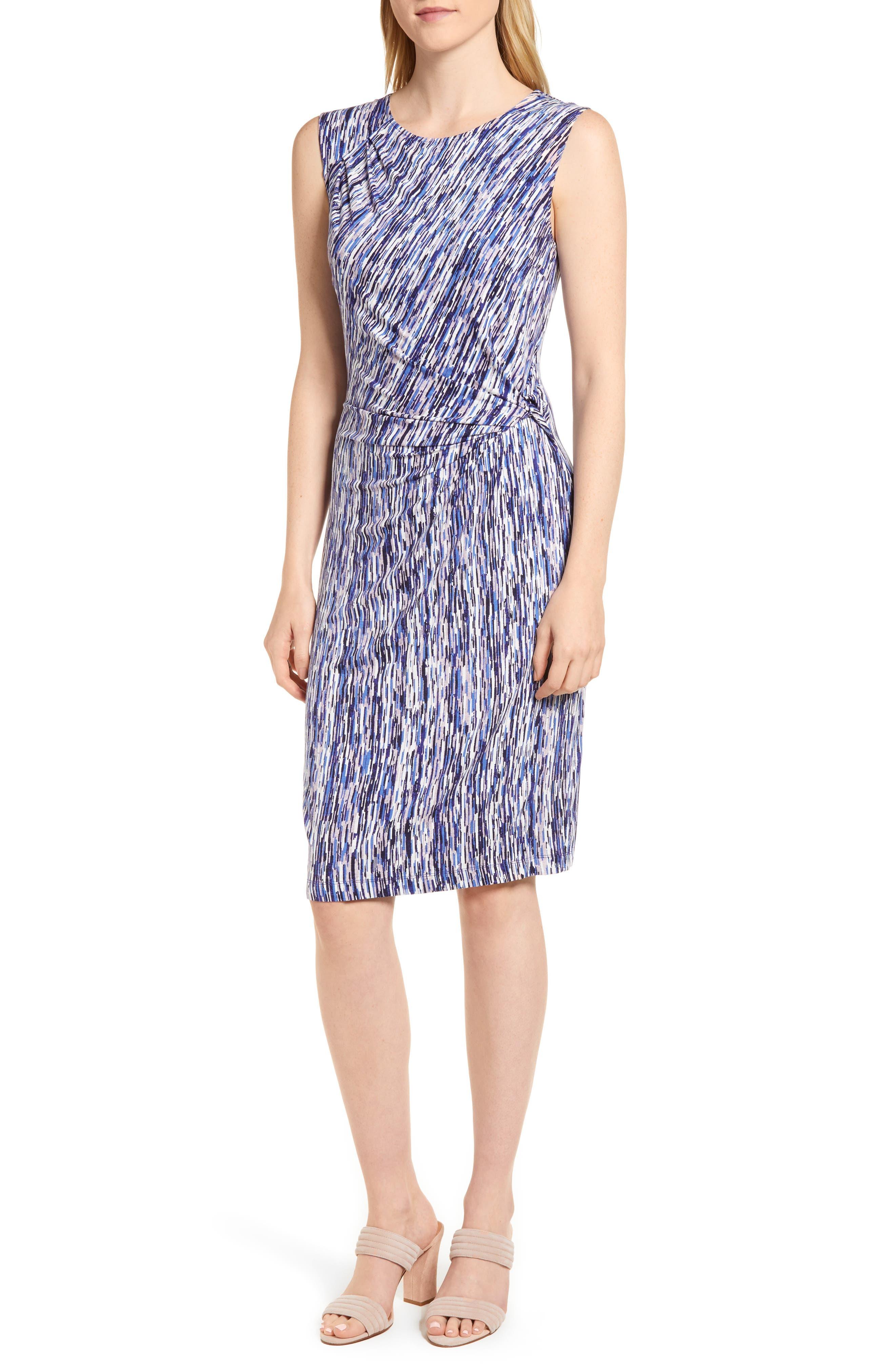 Sapphire Stripe Side Twist Dress,                         Main,                         color, 490