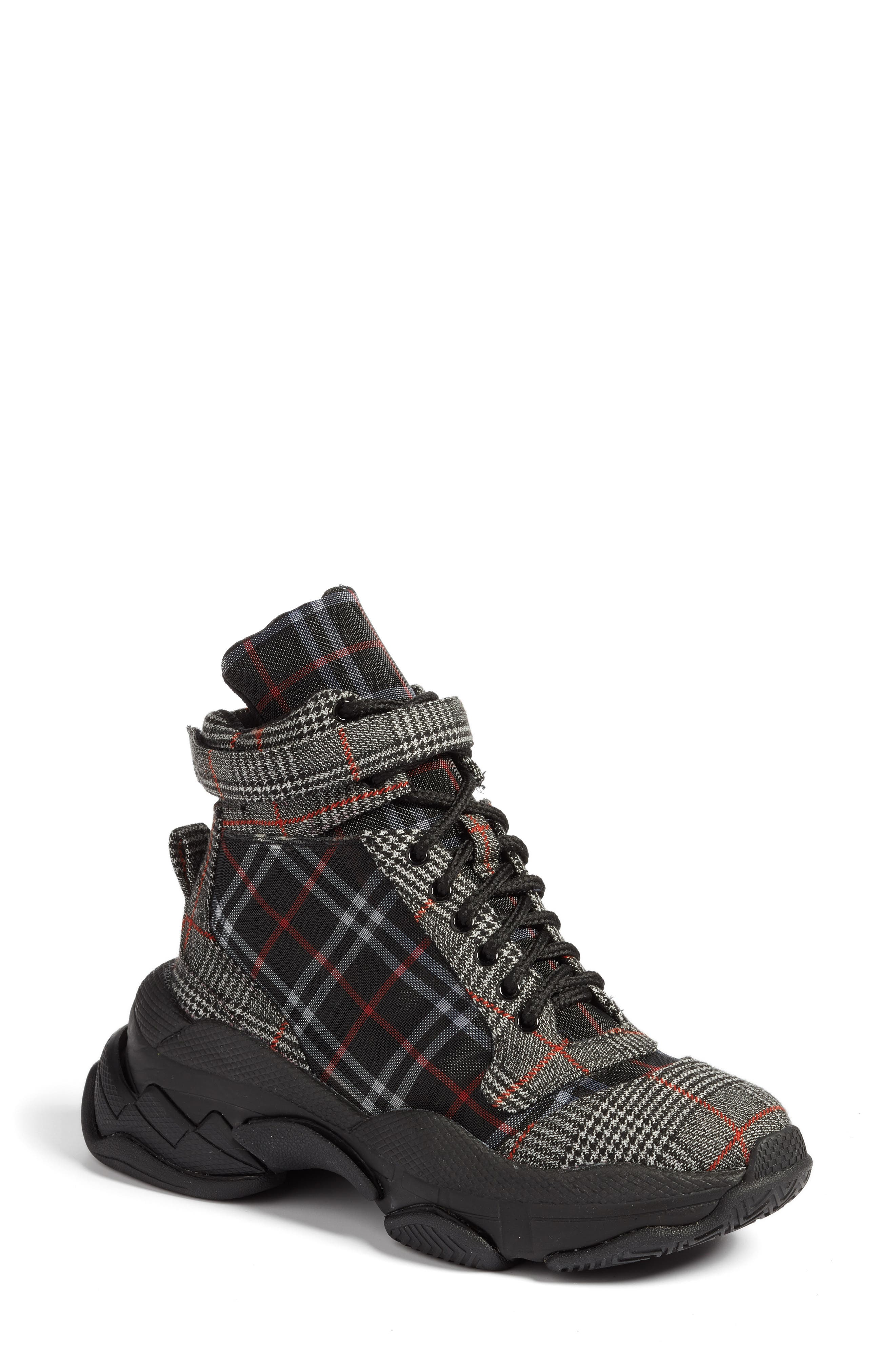 JEFFREY CAMPBELL Disc-2 Sneaker, Main, color, GREY BLACK PLAID COMBO