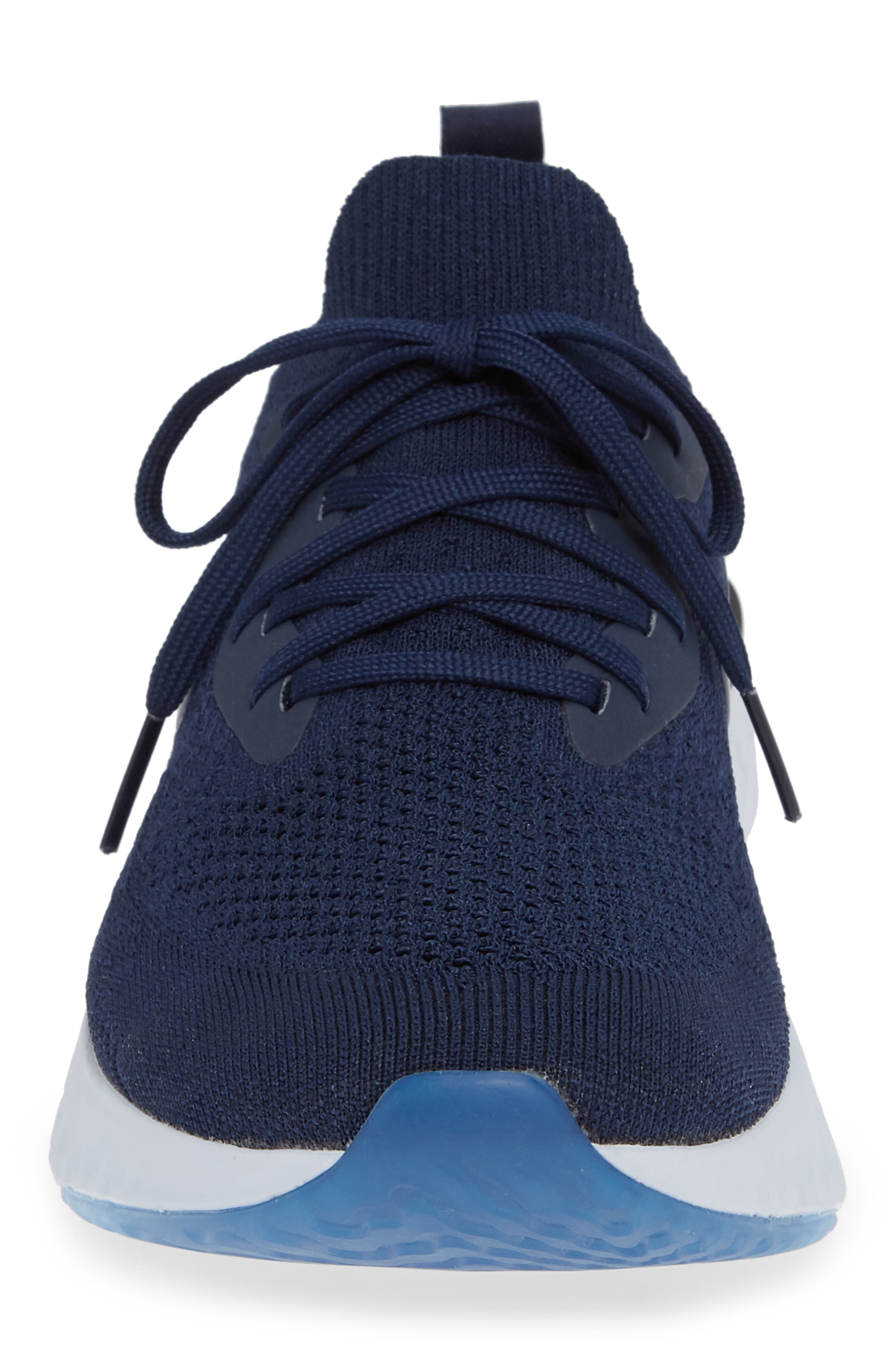 Epic React Flyknit Running Shoe,                             Alternate thumbnail 4, color,                             COLLEGE NAVY/ BLUE/ GREY