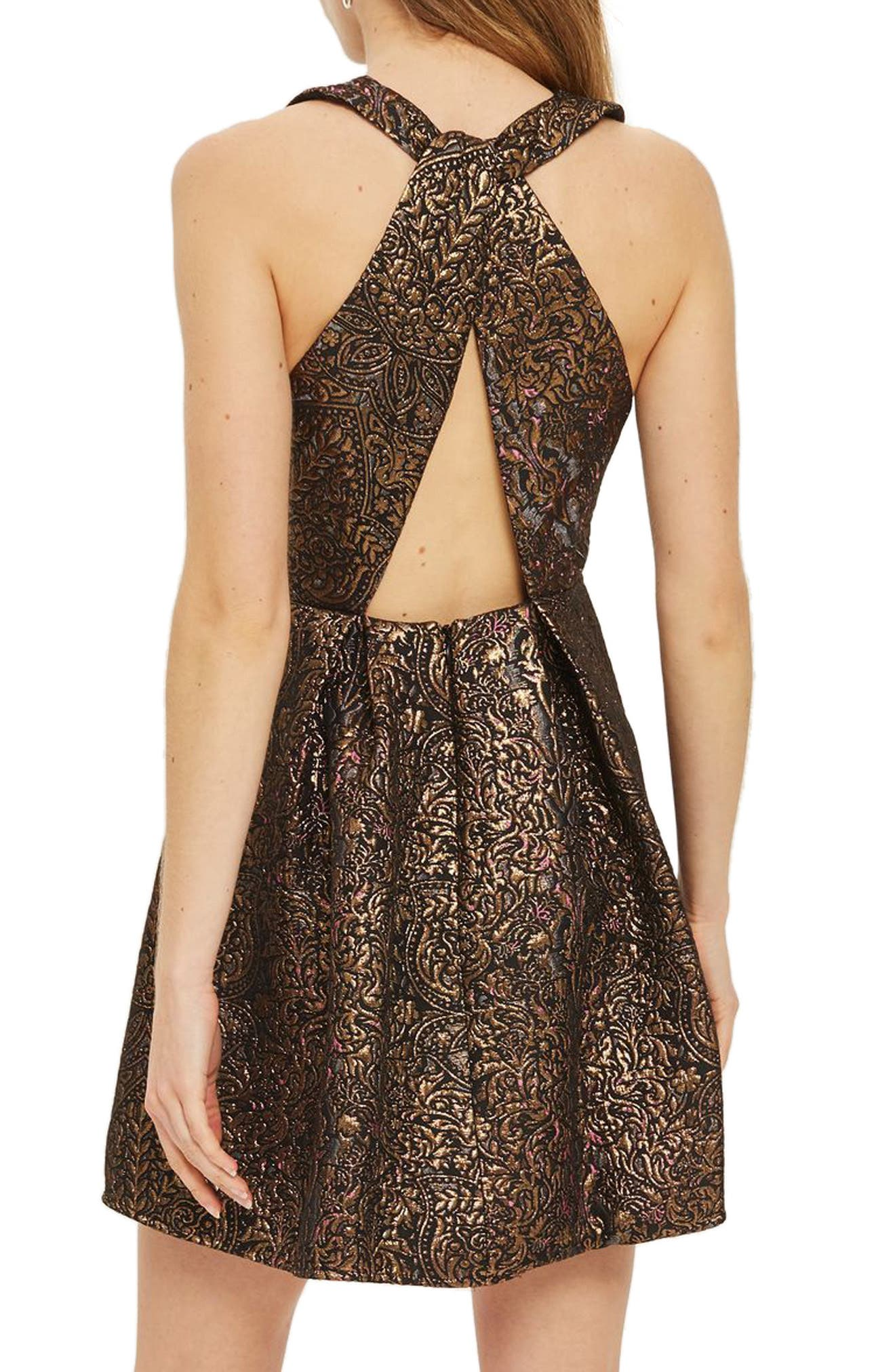 Opulent Jacquard Skater Dress,                             Alternate thumbnail 2, color,                             220