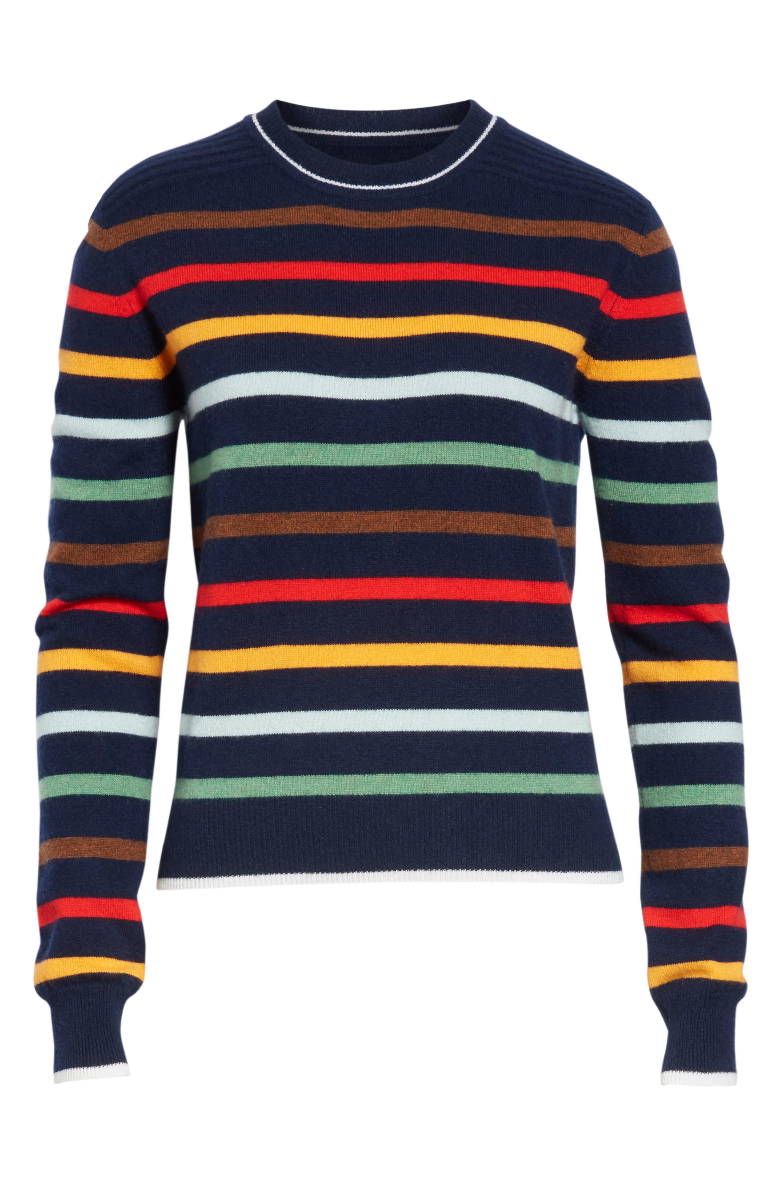 Rainbow Neat Wool & Cashmere Sweater,                             Alternate thumbnail 6, color,                             NAVY/ RAINBOW