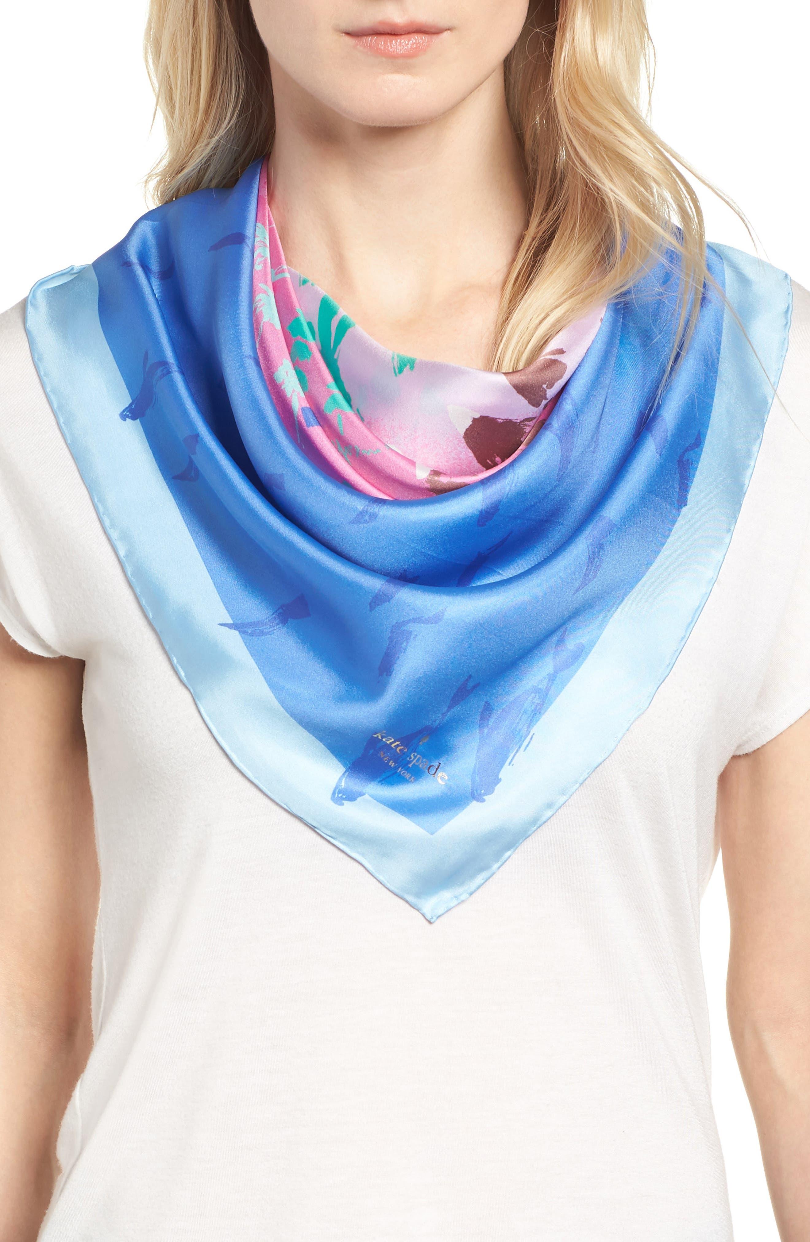 california map square silk scarf,                         Main,                         color, 501