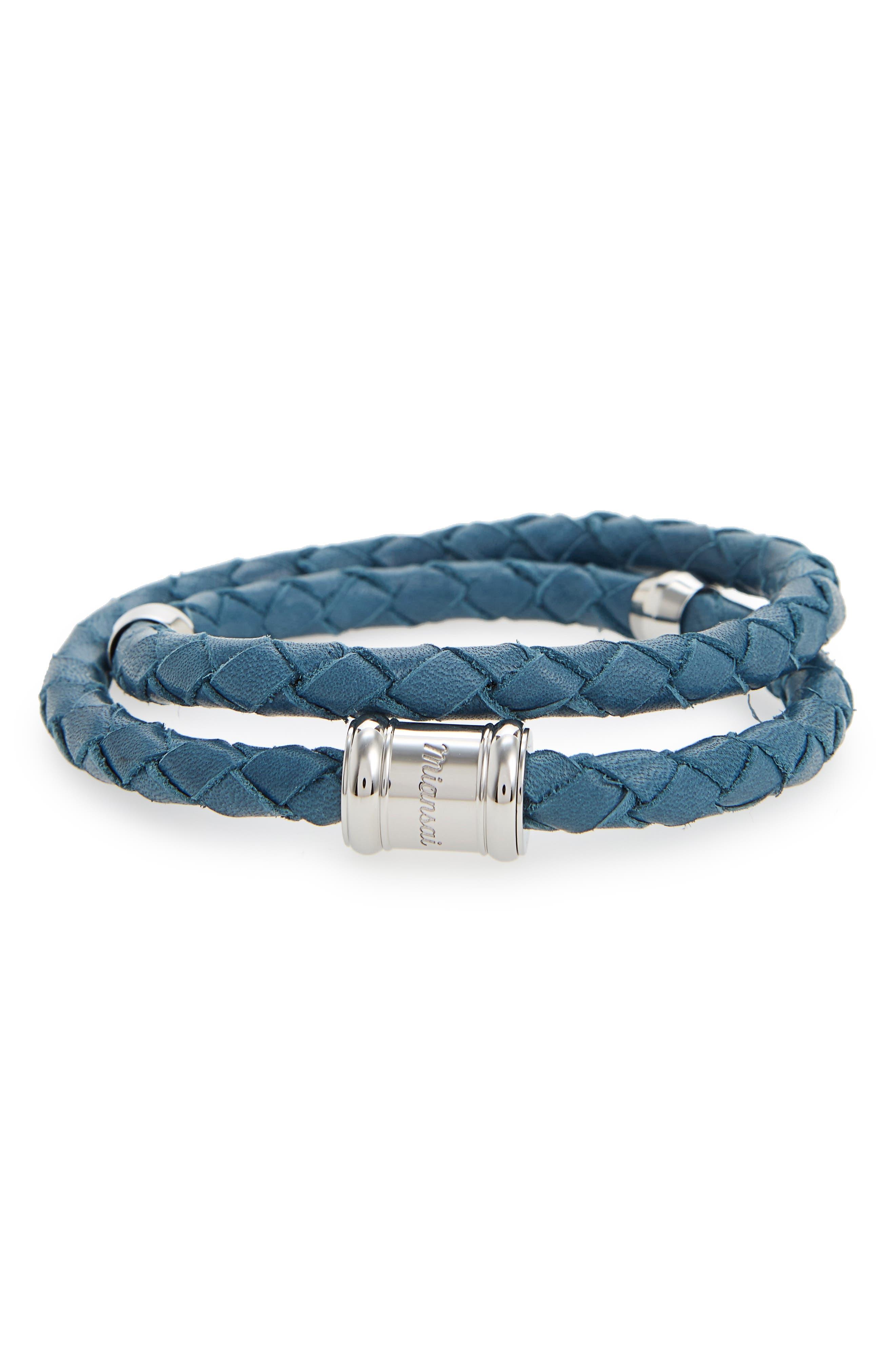 Braided Leather Bracelet,                             Main thumbnail 9, color,