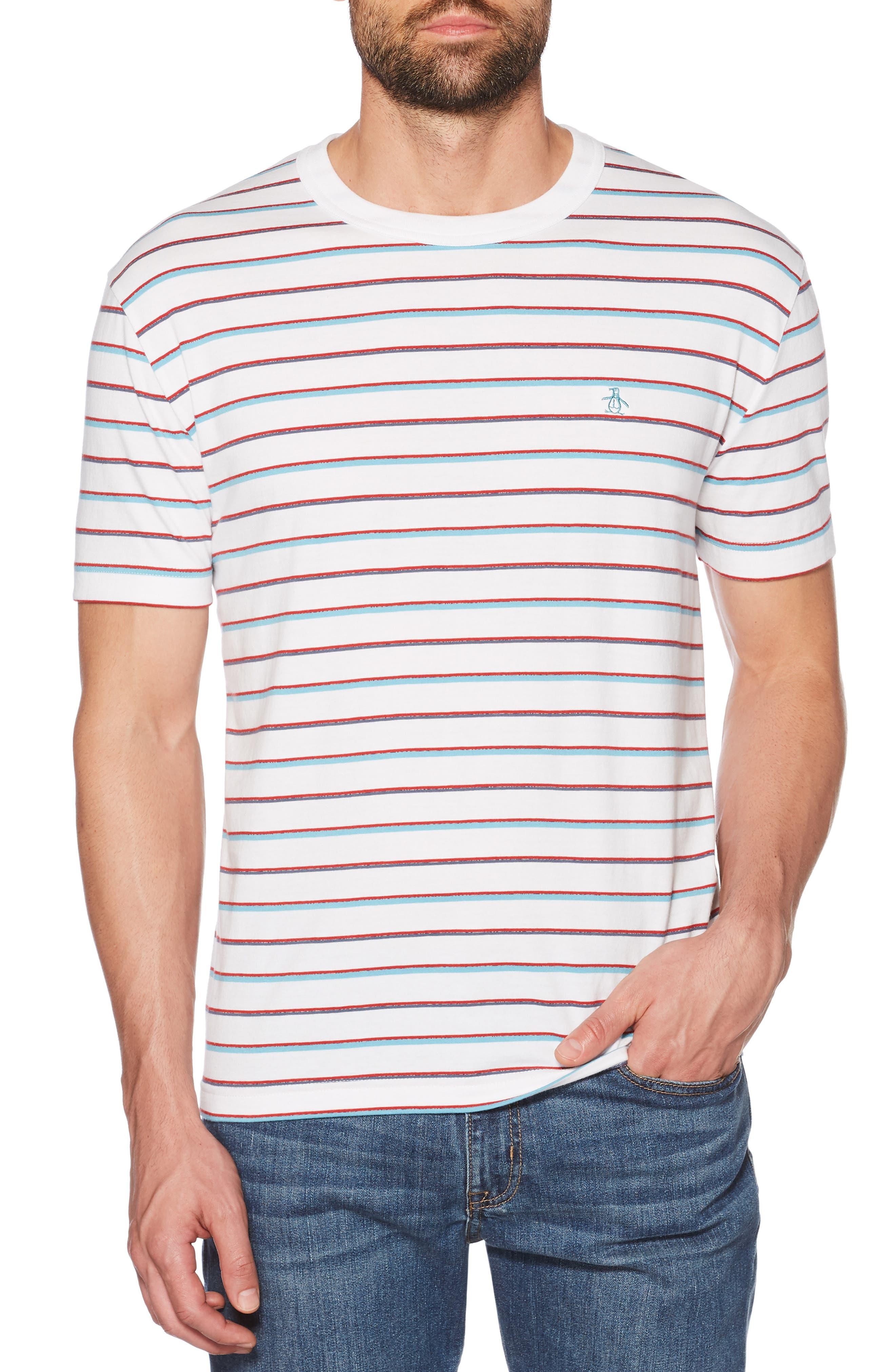 Striped Jaspé T-Shirt,                         Main,                         color, BRIGHT WHITE