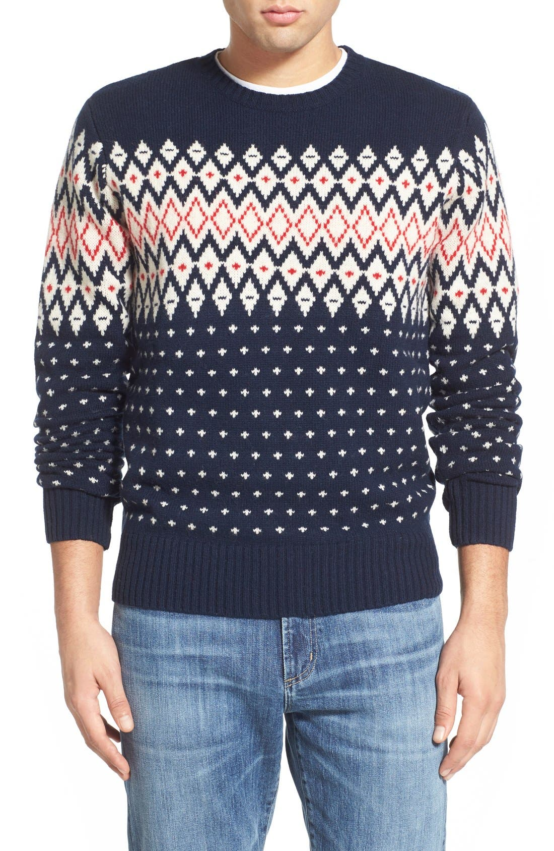 Lambswool Fair Isle Crewneck Sweater,                         Main,                         color,