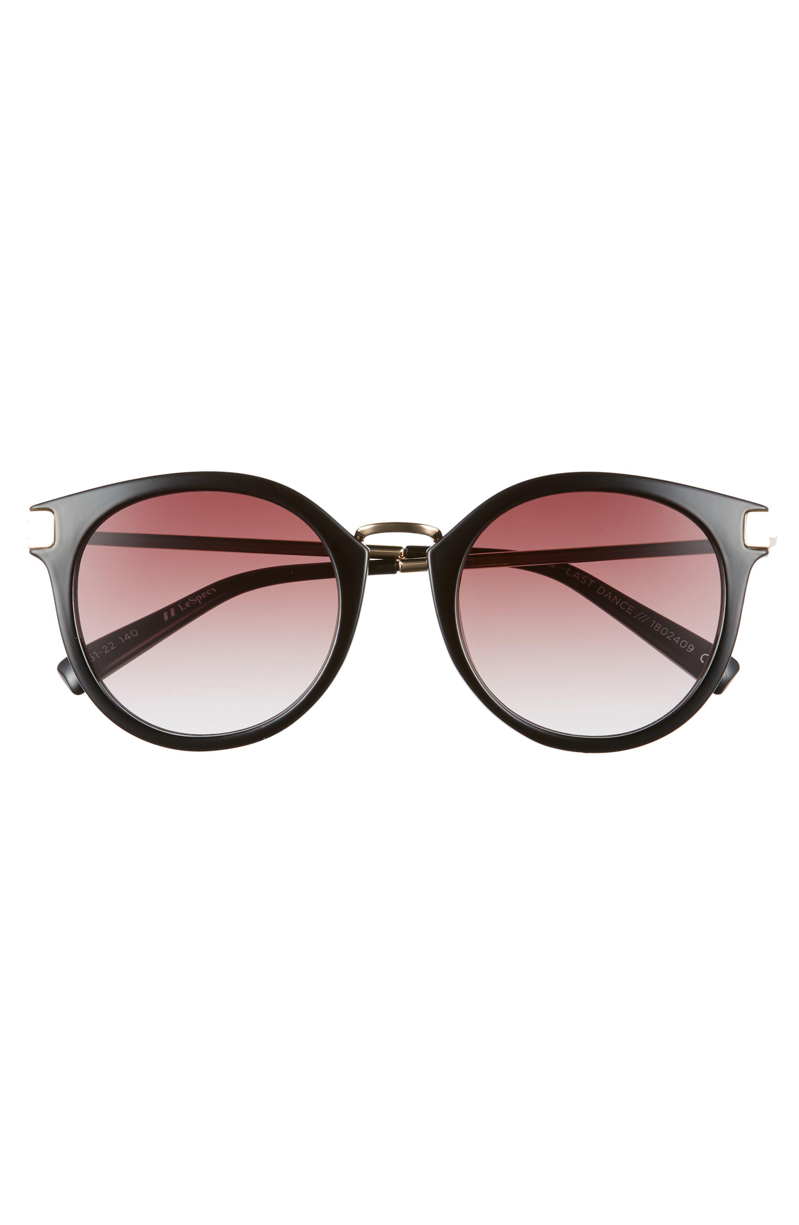 Last Dance 51mm Mirrored Round Sunglasses,                             Alternate thumbnail 3, color,                             BLACK
