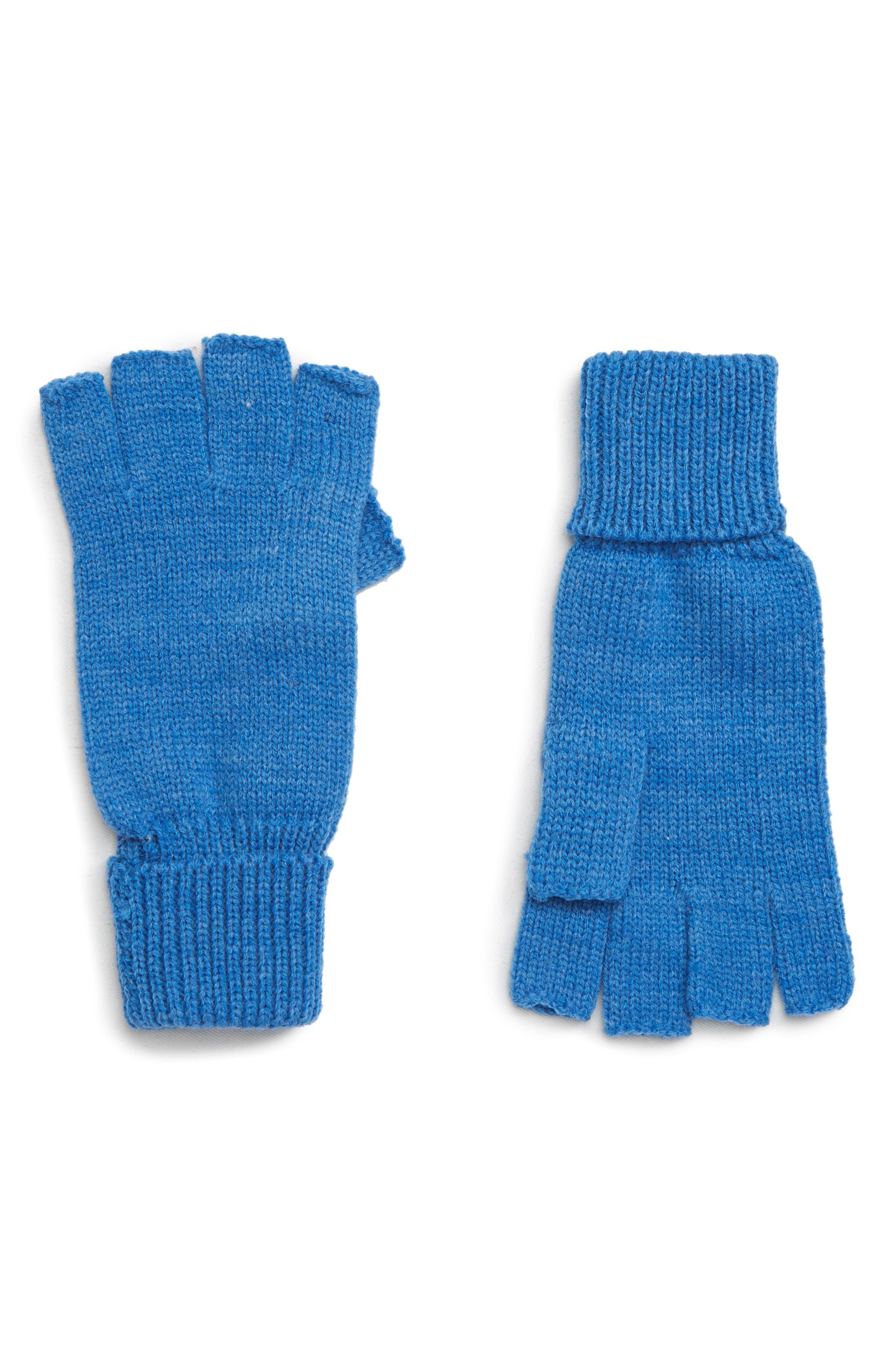 TROUVÉ Basic Fingerless Gloves, Main, color, BLUE CAMP