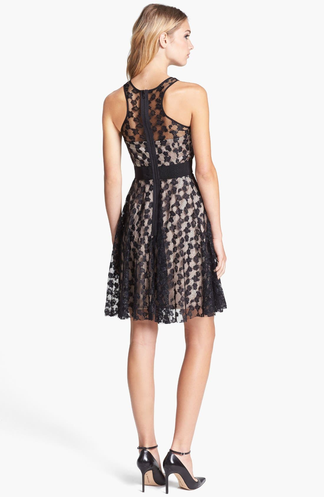 Lace Silk Fit & Flare Dress,                             Alternate thumbnail 2, color,                             280