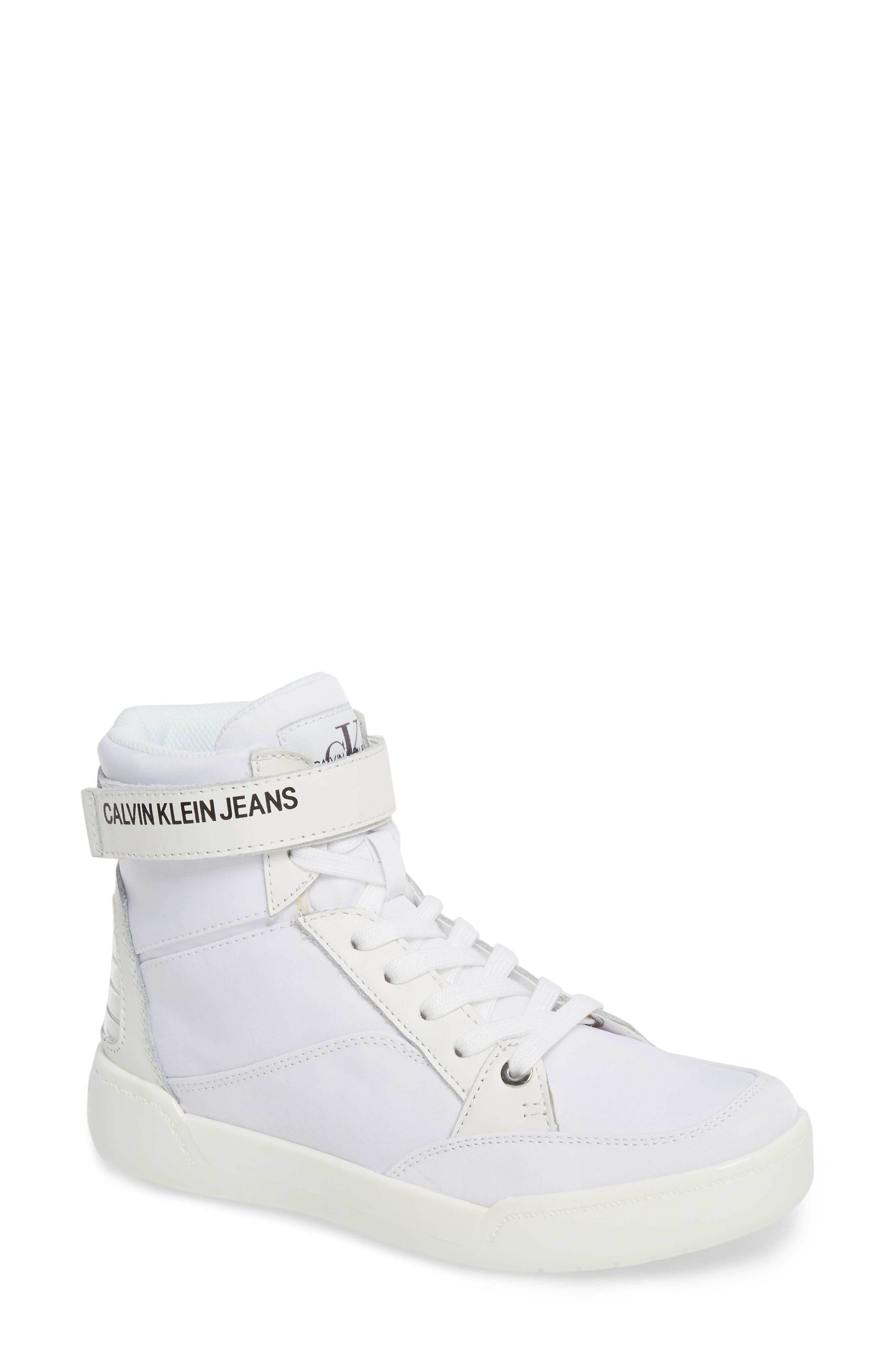 Nelda High Top Sneaker,                             Main thumbnail 1, color,                             WHITE LEATHER