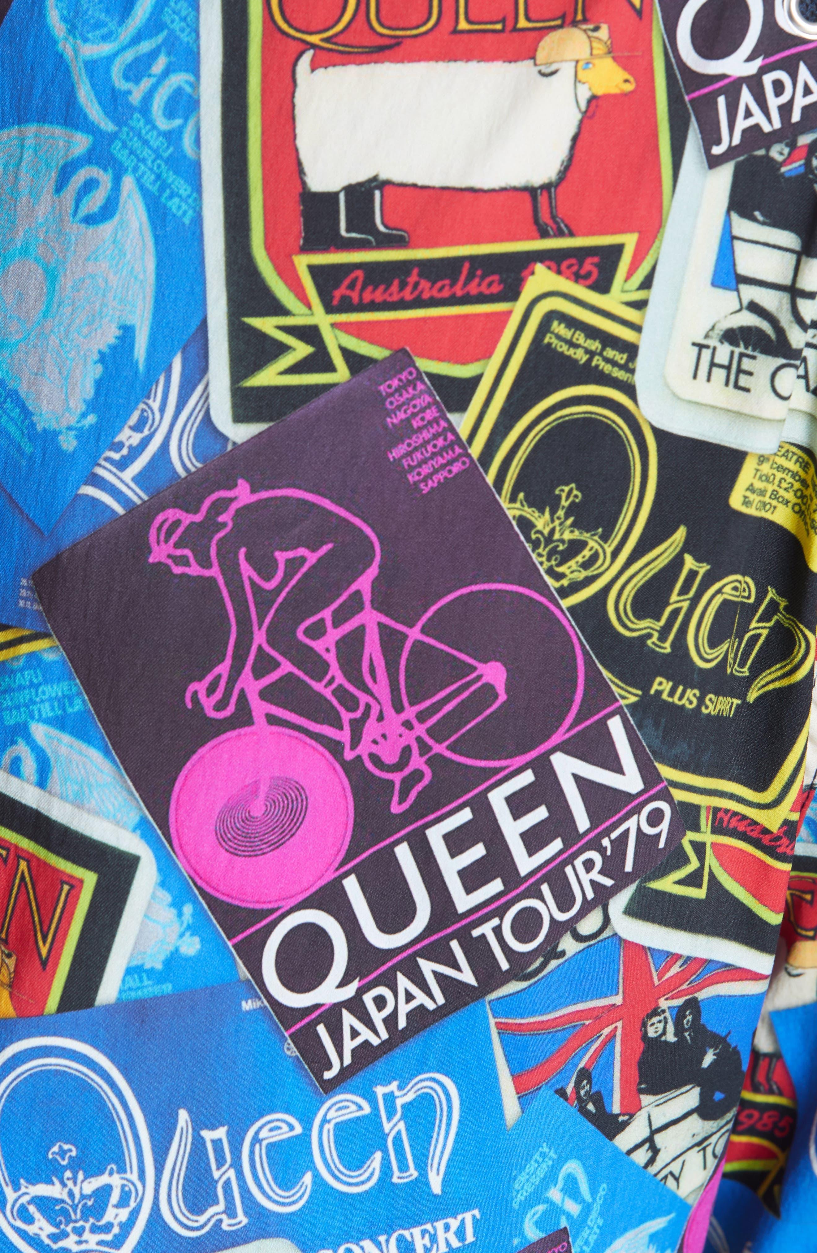 Queen Tour Print Swim Trunks,                             Alternate thumbnail 5, color,                             BLUE