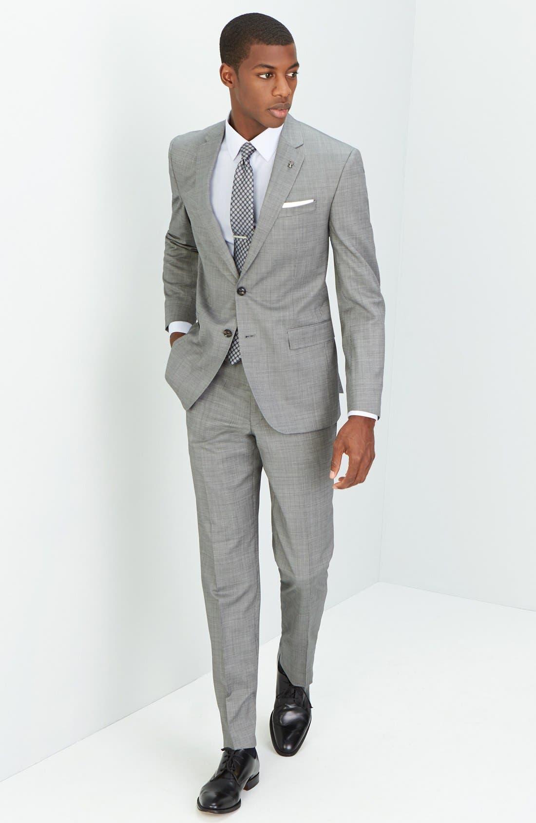 Jay Trim Fit Solid Wool Suit,                             Alternate thumbnail 18, color,                             LIGHT GREY