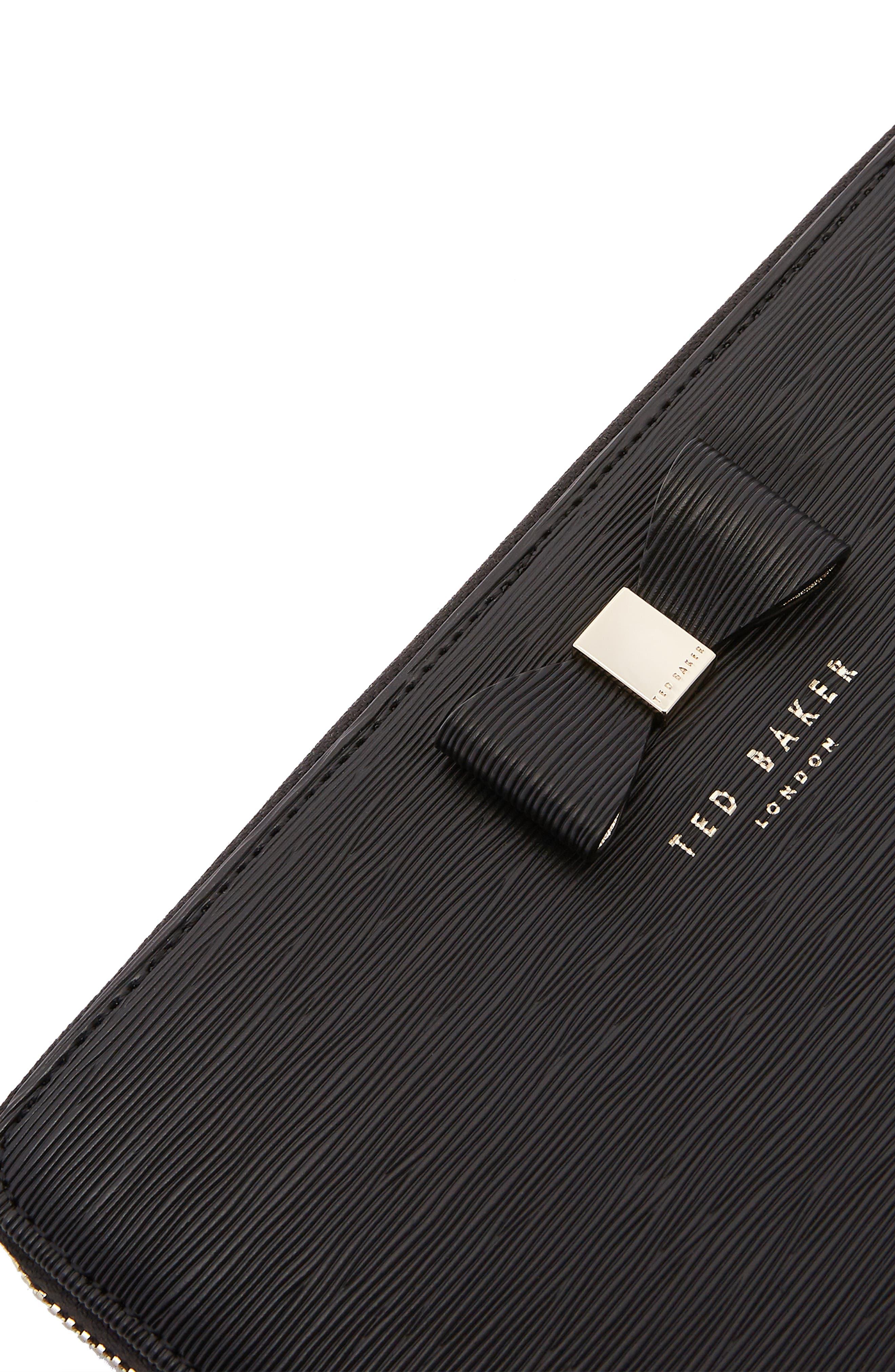 Peony Plissé Leather Matinee Wallet,                             Alternate thumbnail 4, color,                             001