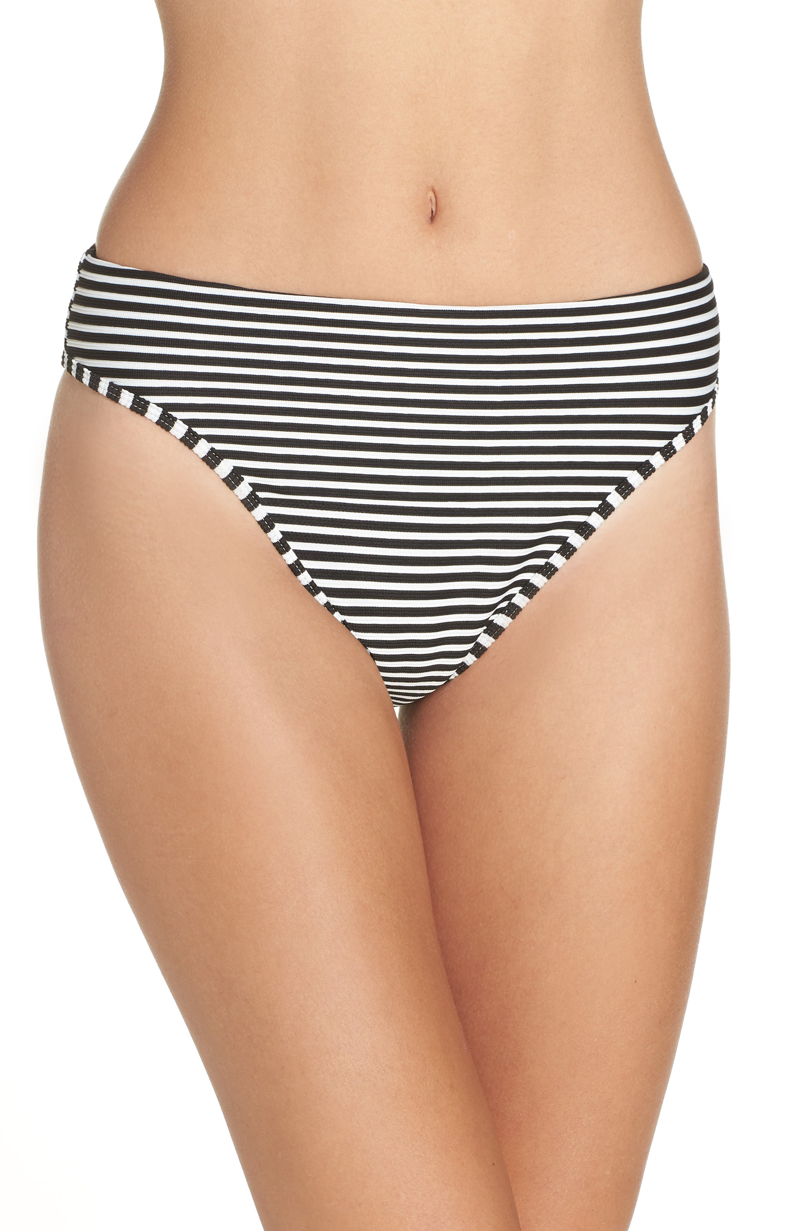 Pierre High Waist Bikini Bottoms,                         Main,                         color, BLACK/ CREAM