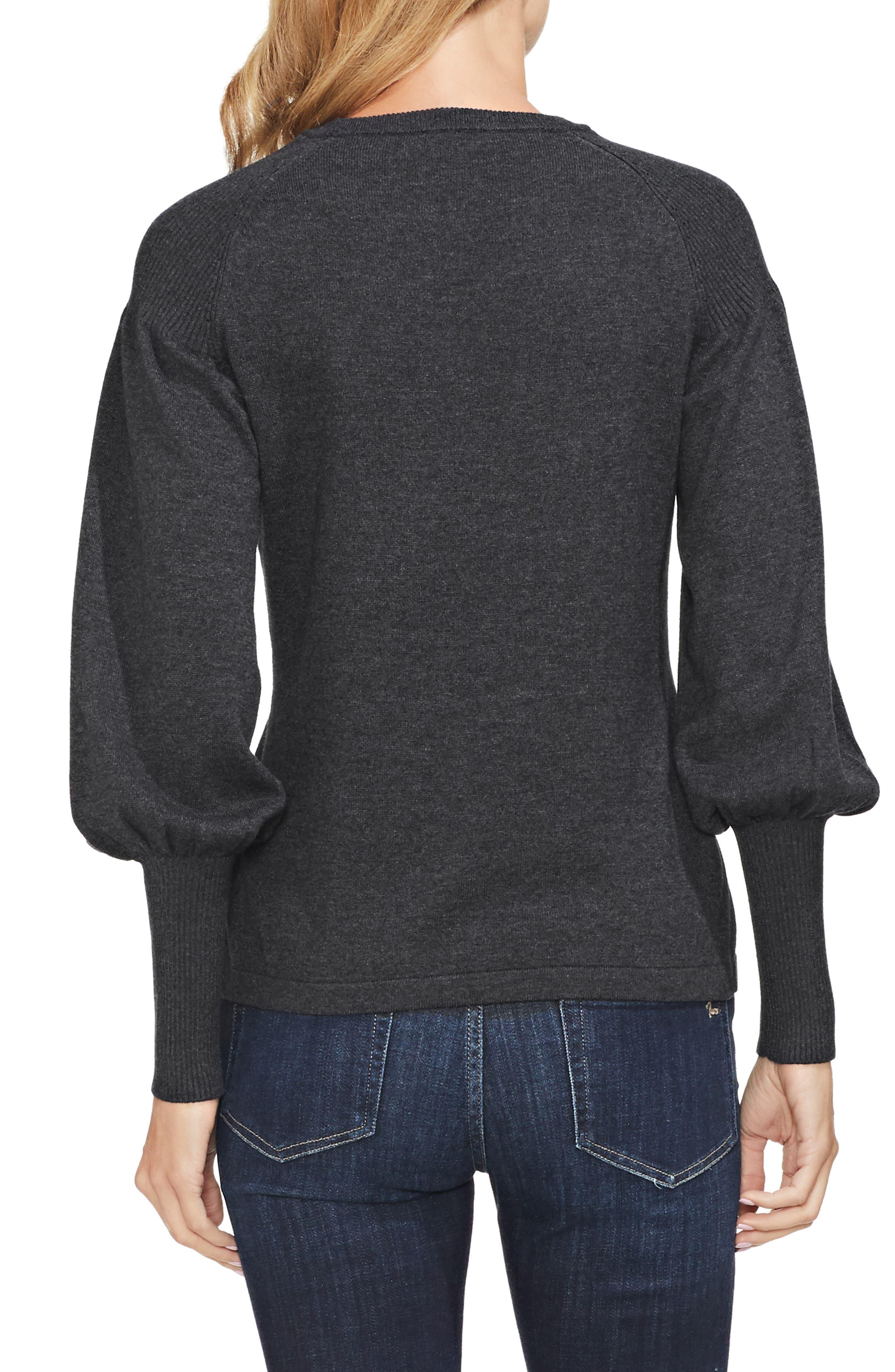 Blouson Sleeve Sweater,                             Alternate thumbnail 3, color,                             MED HEATHER GREY