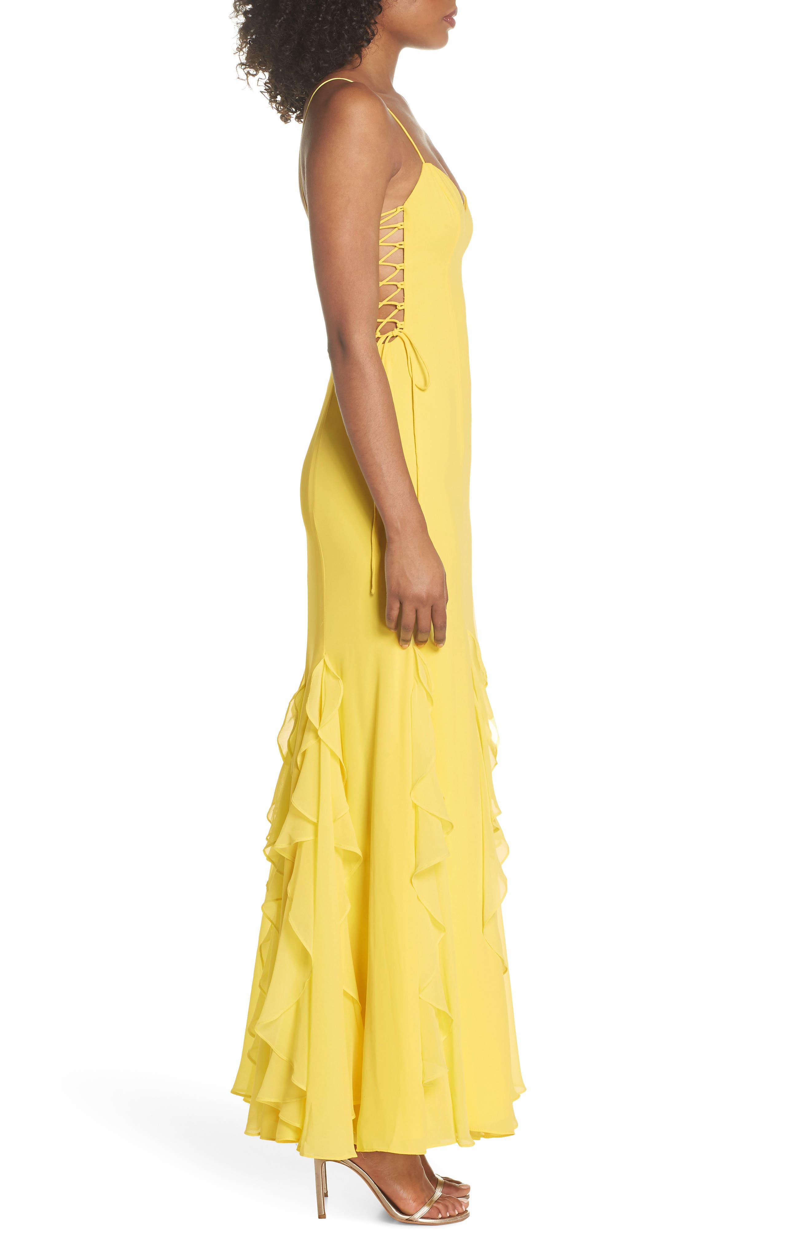 Lara Lace-Up Georgette Gown,                             Alternate thumbnail 3, color,                             740
