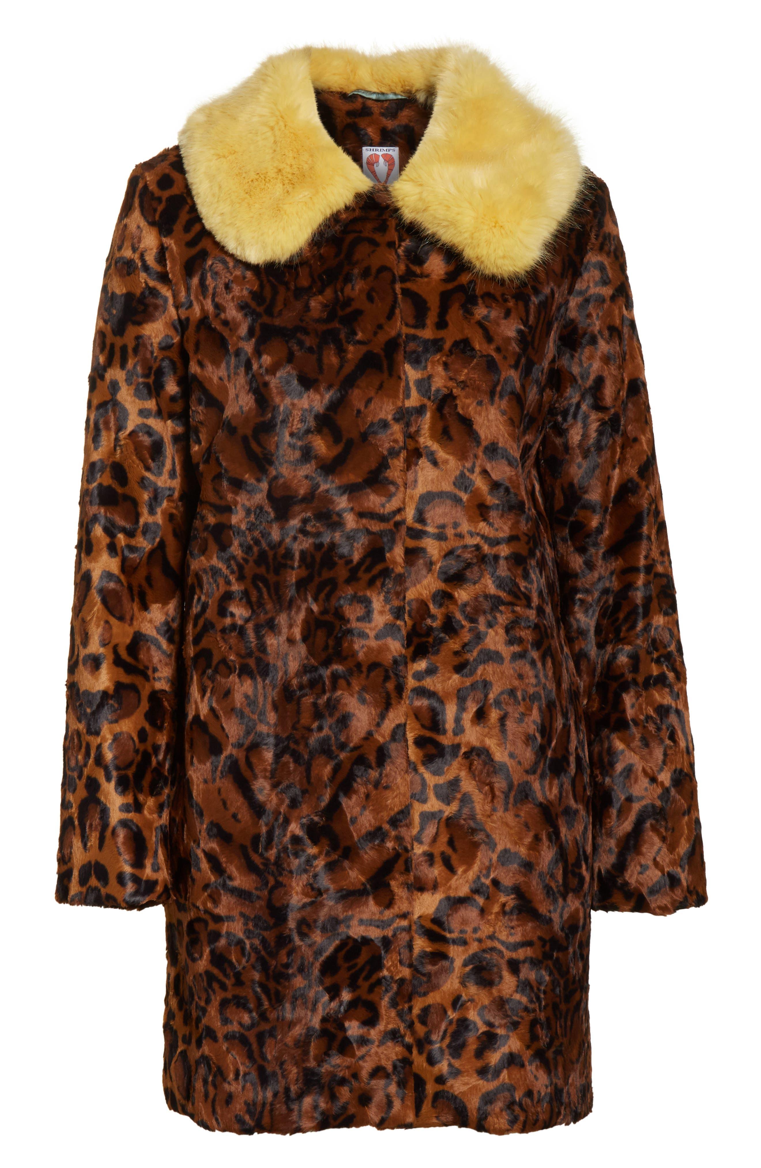 Papa Puss Leopard Print Faux Fur Coat,                             Alternate thumbnail 5, color,                             200