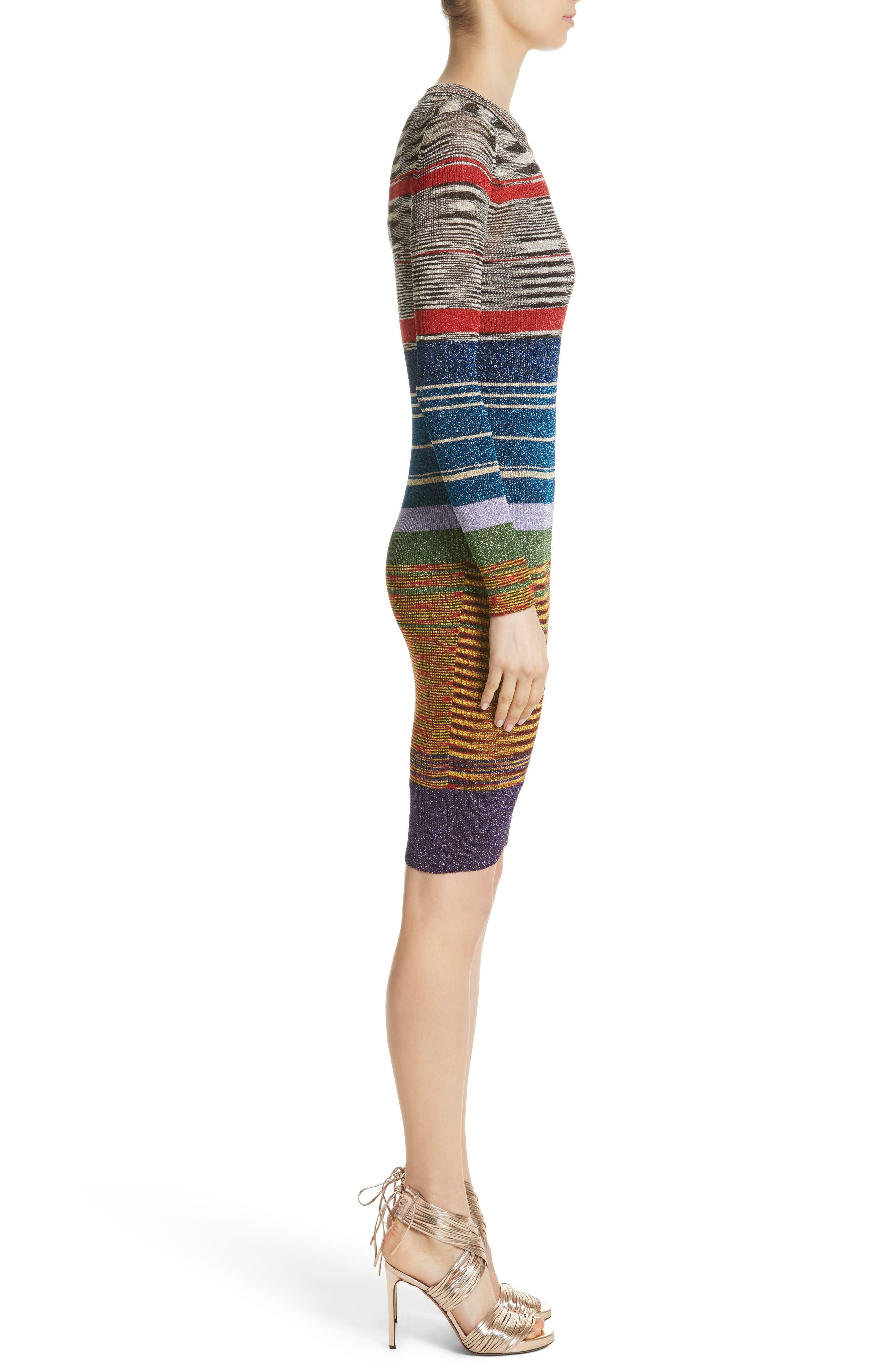 Stripe Space Dye Knit Dress,                             Alternate thumbnail 3, color,                             640