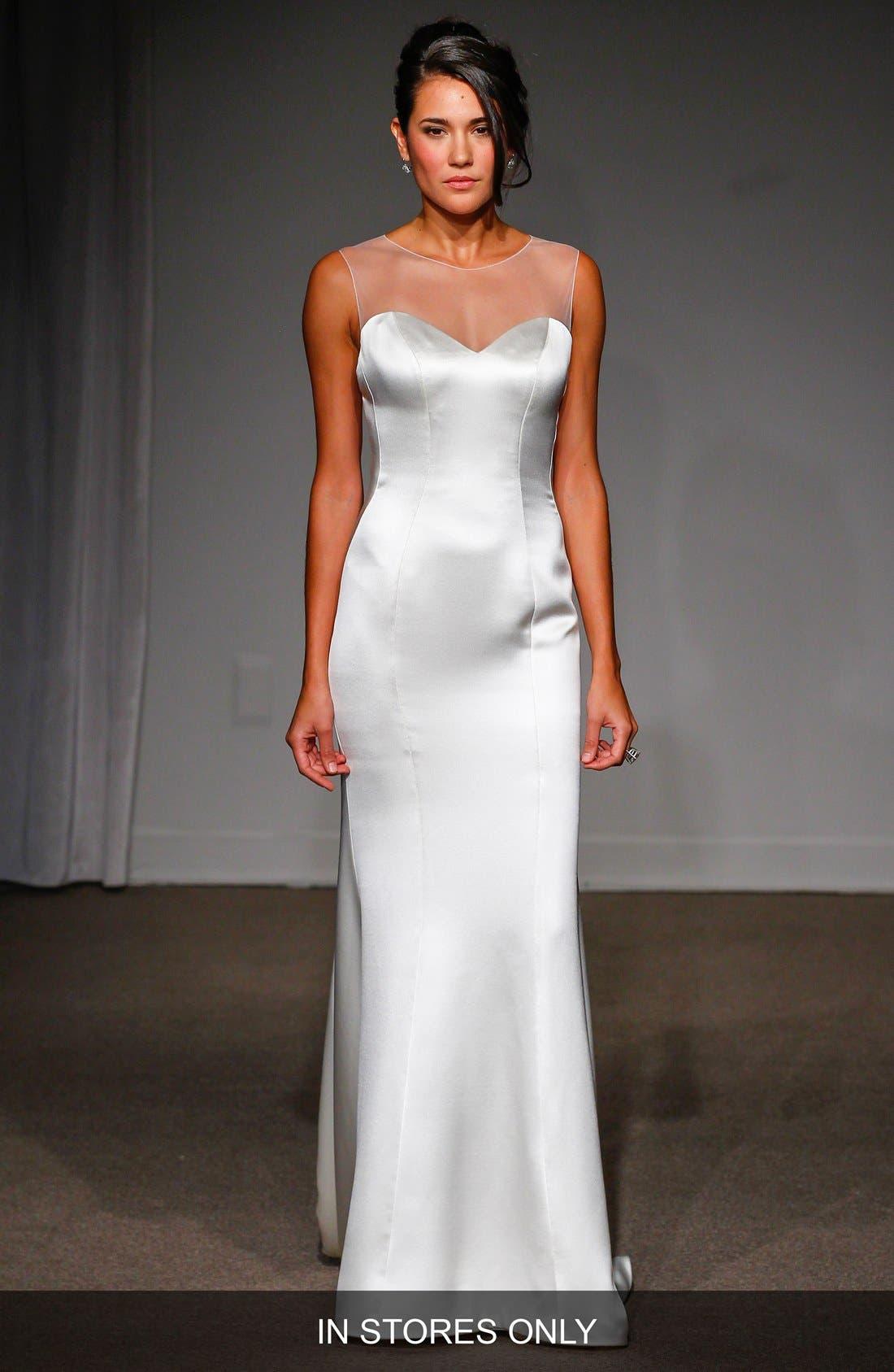 Nicole Illusion Neck Satin A-Line Gown,                             Main thumbnail 1, color,                             100