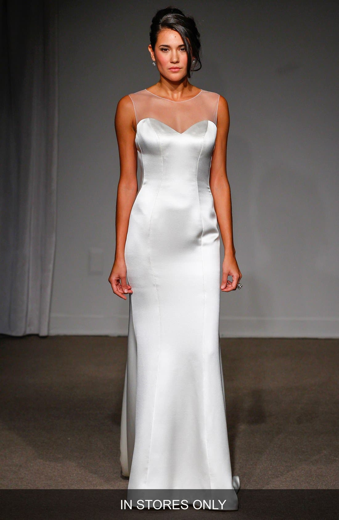 Nicole Illusion Neck Satin A-Line Gown,                         Main,                         color, 100