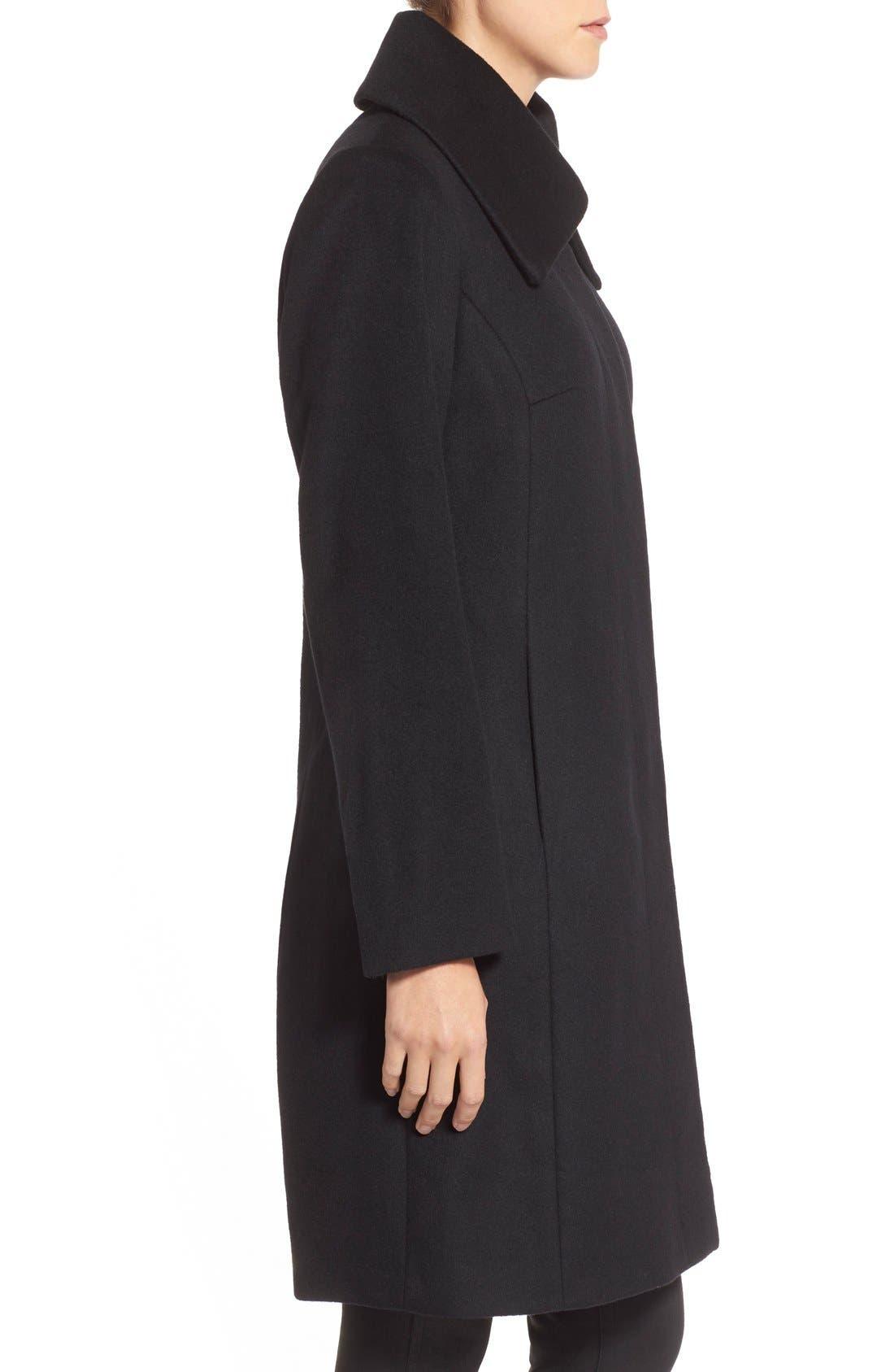 Single Breasted Wool Blend Coat,                             Alternate thumbnail 4, color,                             BLACK