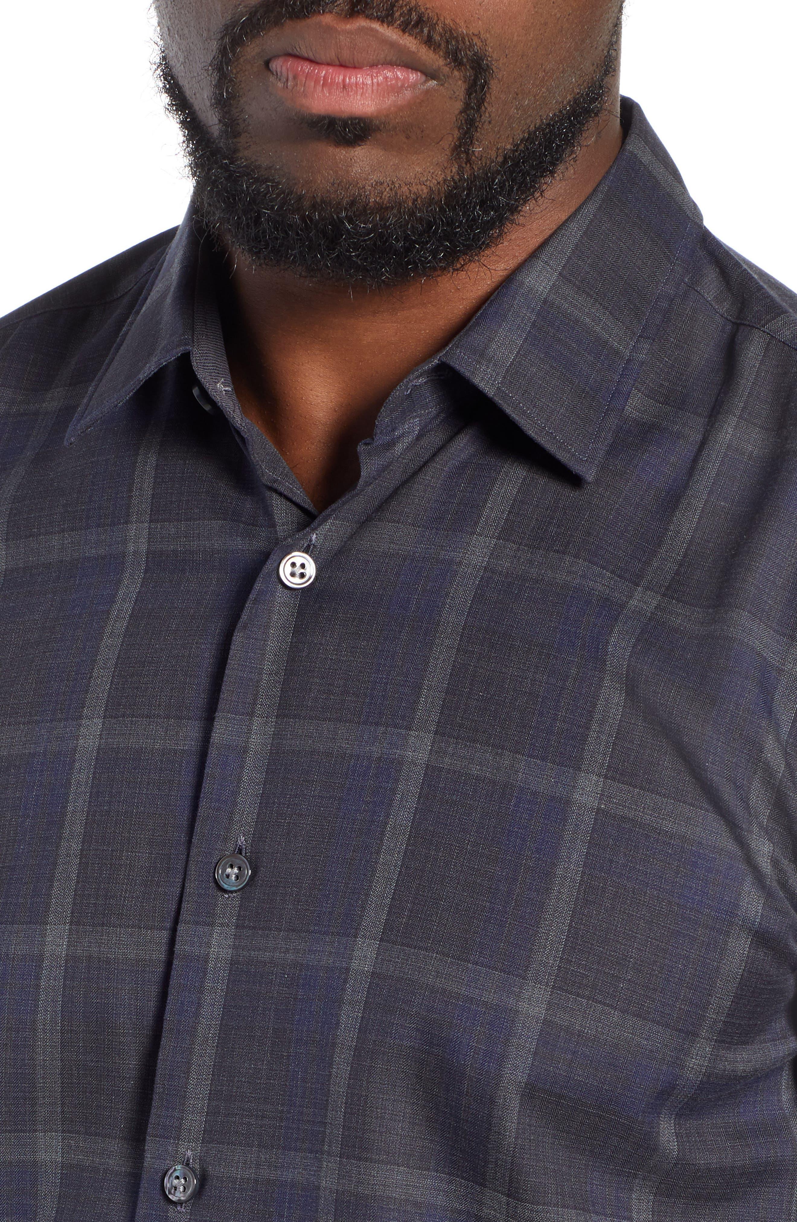 T-Riccardo Slim Fit Plaid Flannel Sport Shirt,                             Alternate thumbnail 2, color,                             BLUE