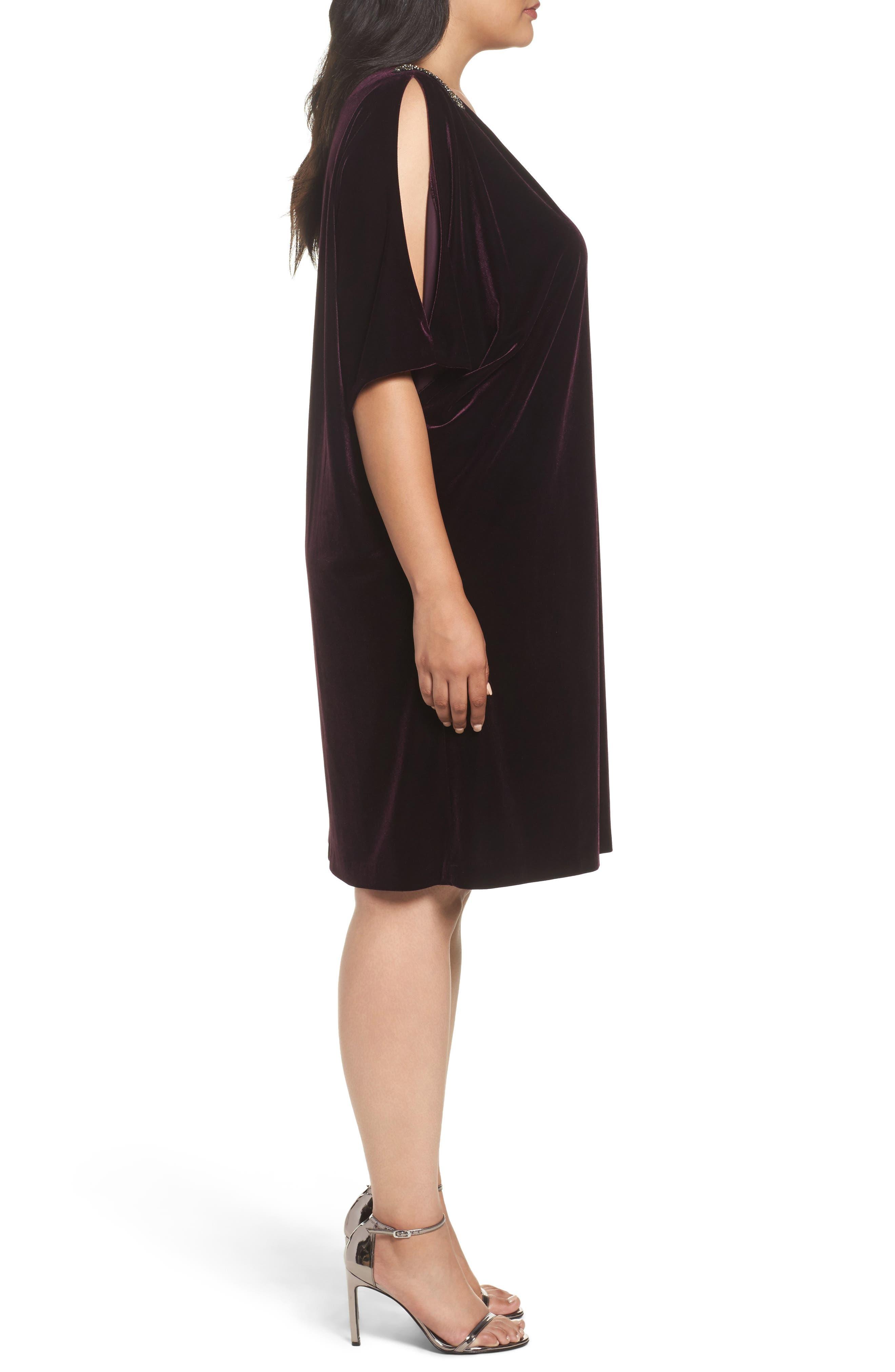 Embellished Velvet Shift Dress,                             Alternate thumbnail 3, color,