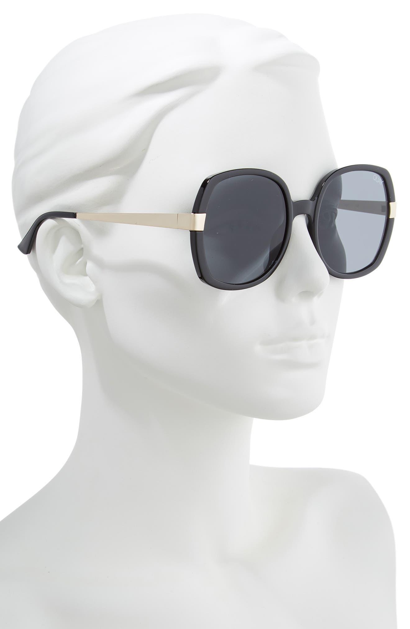 Gold Dust 55mm Square Sunglasses,                             Alternate thumbnail 2, color,                             BLACK / SMOKE