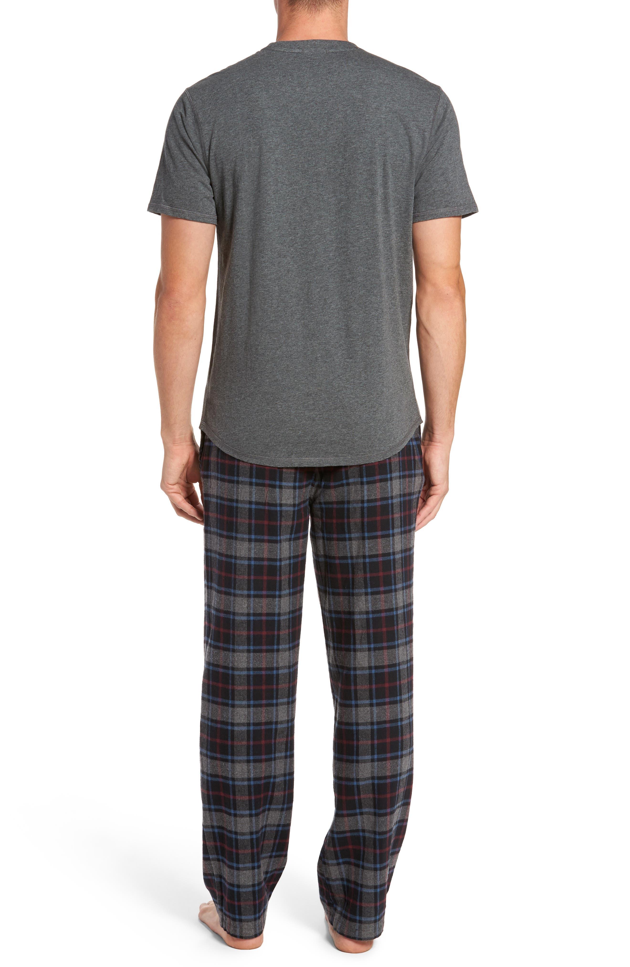 Pajama Set,                             Alternate thumbnail 2, color,                             BLACK ROCK- GREY PLAID