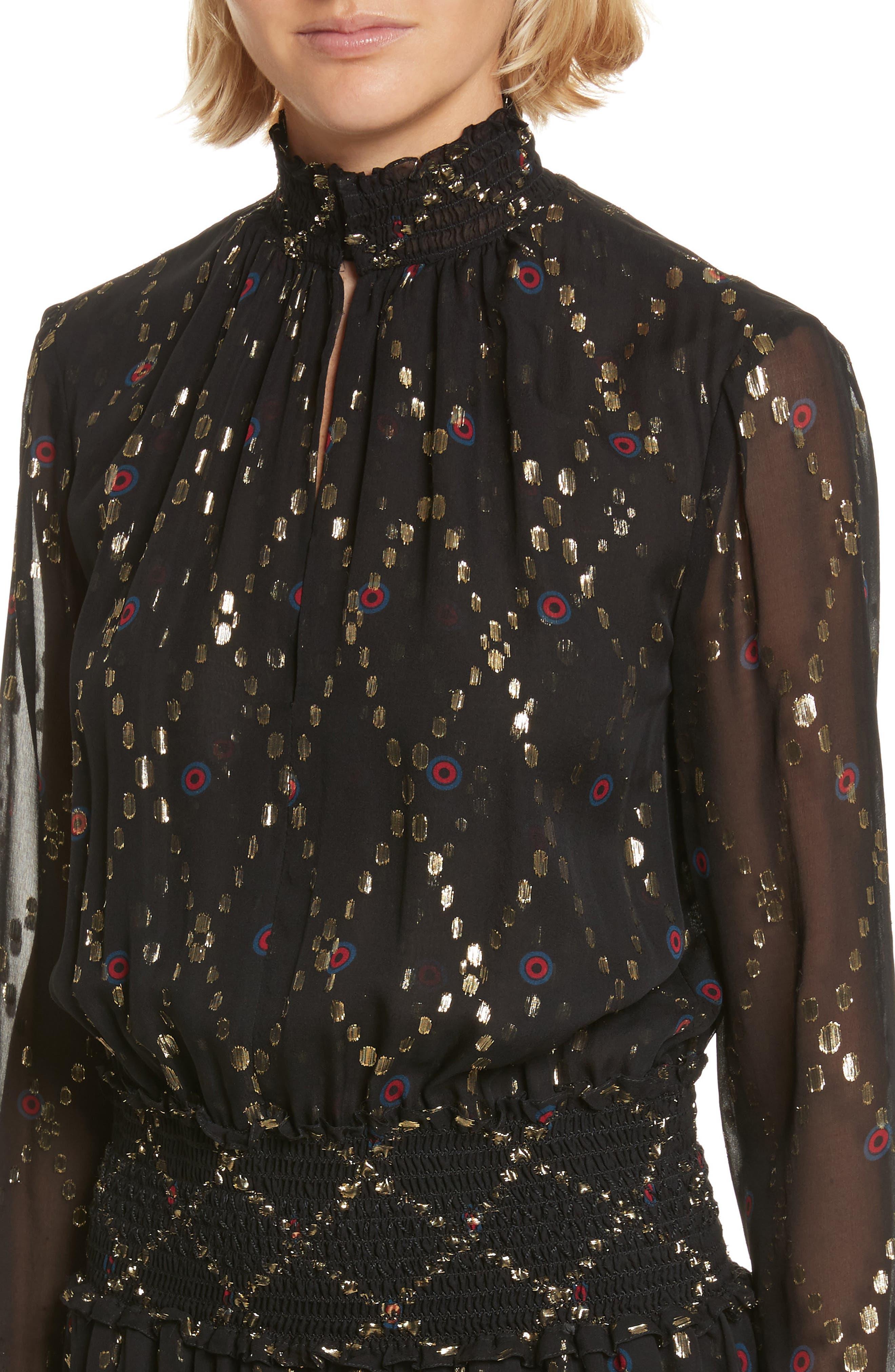 Tula Silk Dress,                             Alternate thumbnail 4, color,                             002