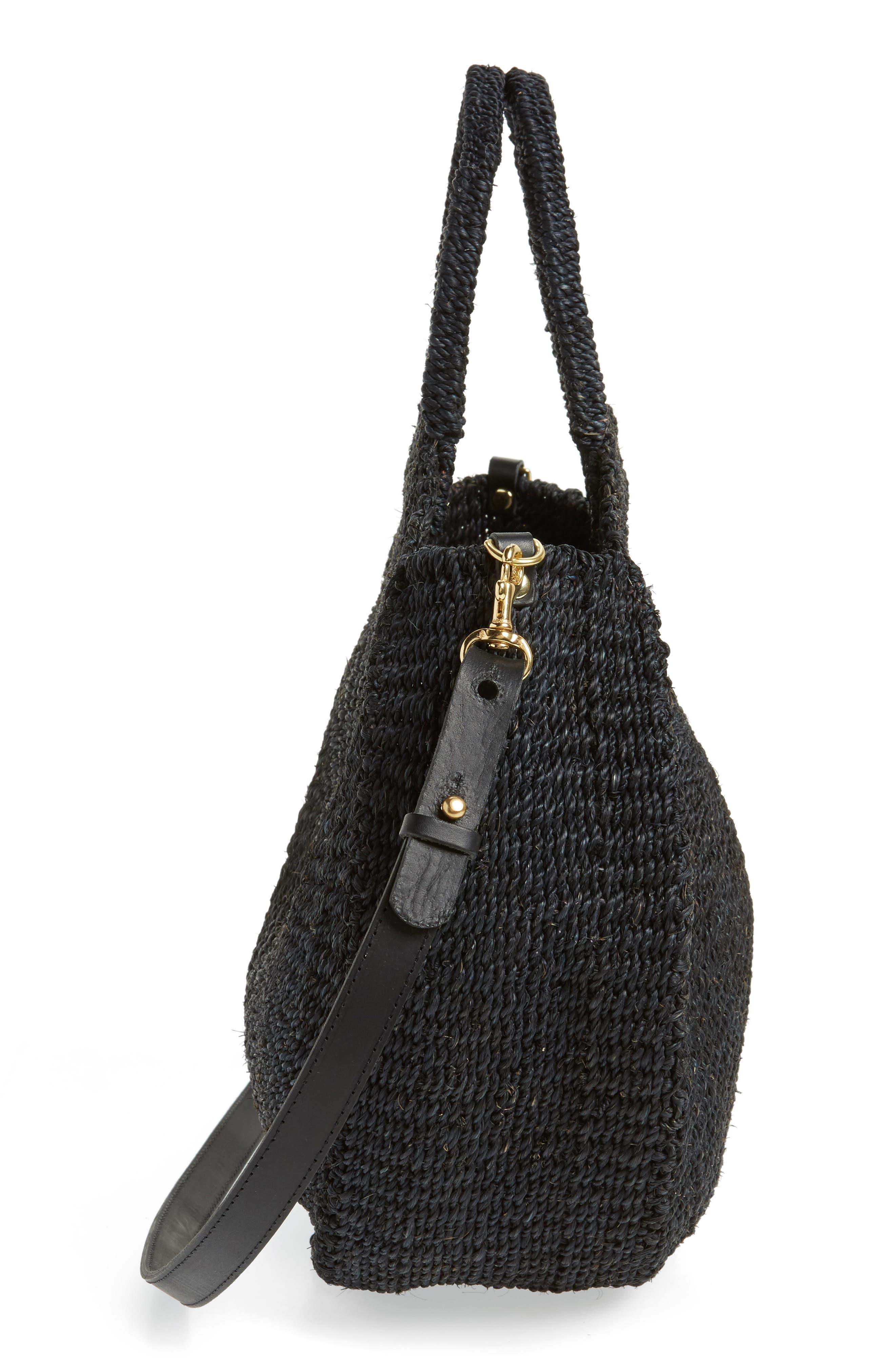 Alice Woven Sisal Straw Bag,                             Alternate thumbnail 5, color,                             BLACK WOVEN