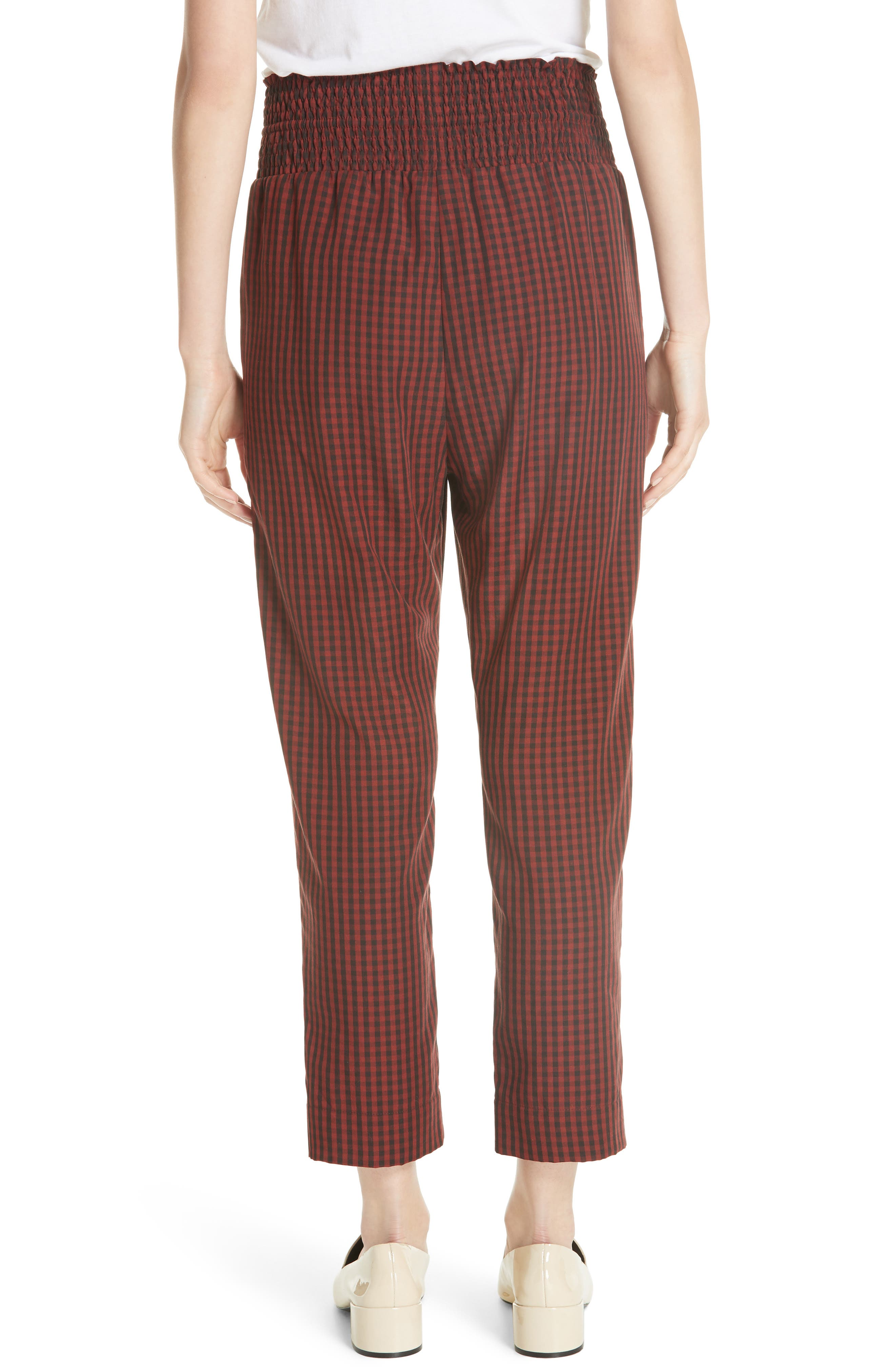 Harlem Gingham Crop Pants,                             Alternate thumbnail 2, color,                             RED CHECK