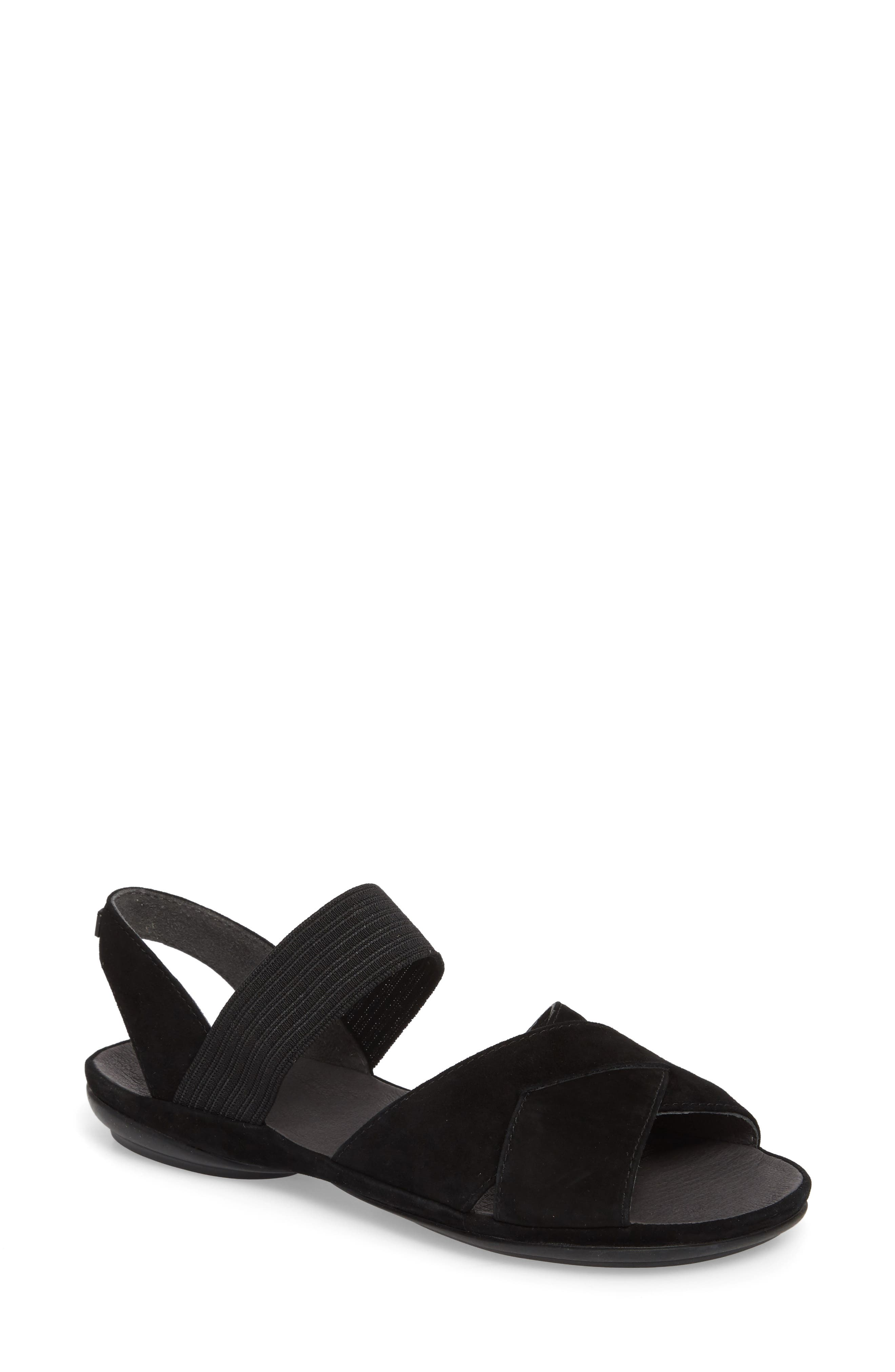 Right Nina Flat Cross Strap Sandal,                         Main,                         color, BLACK LEATHER