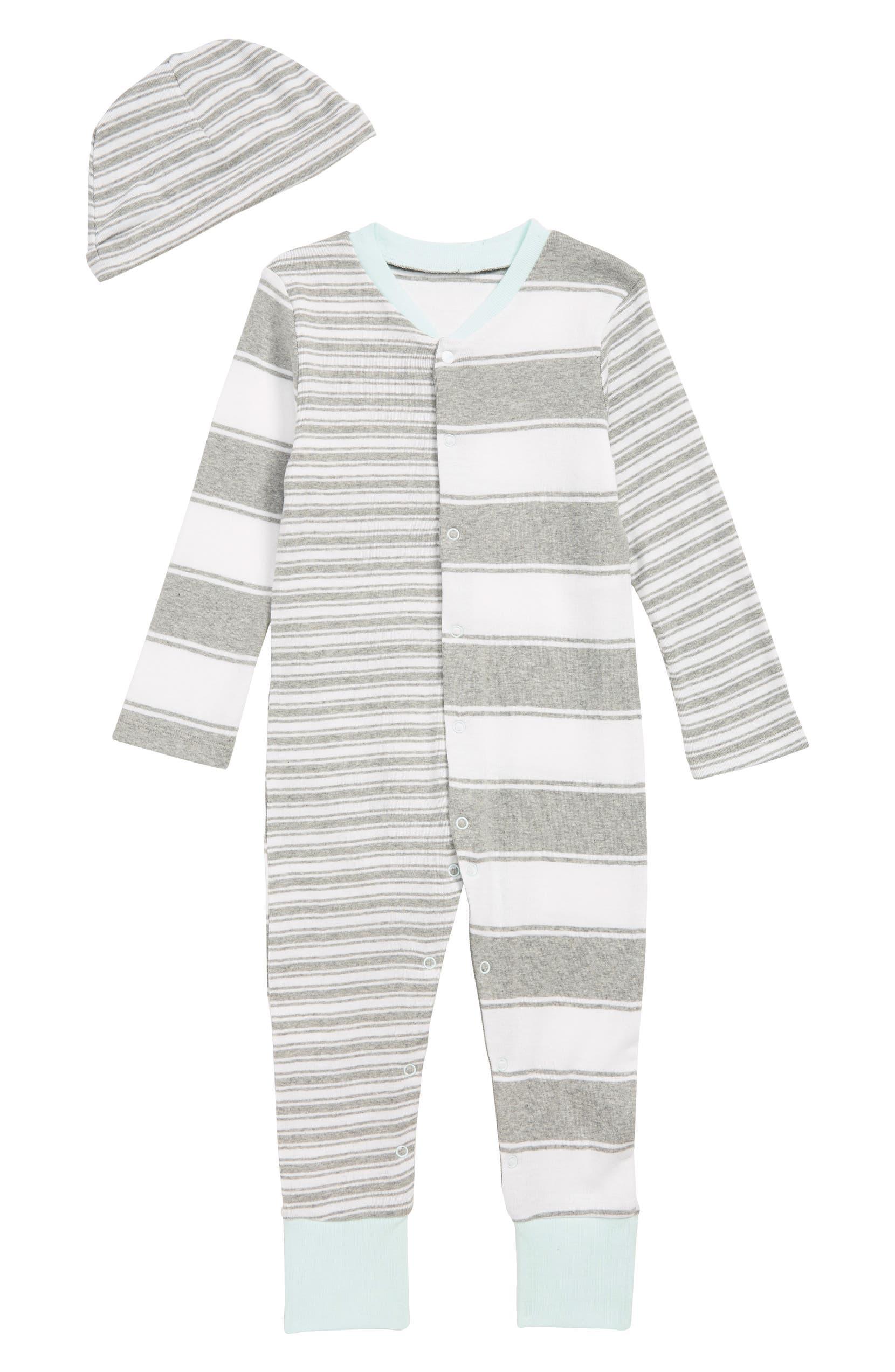 Burt s Bees Baby Peace Stripe Organic Cotton Romper   Hat Set (Baby ... b1ec495179bb