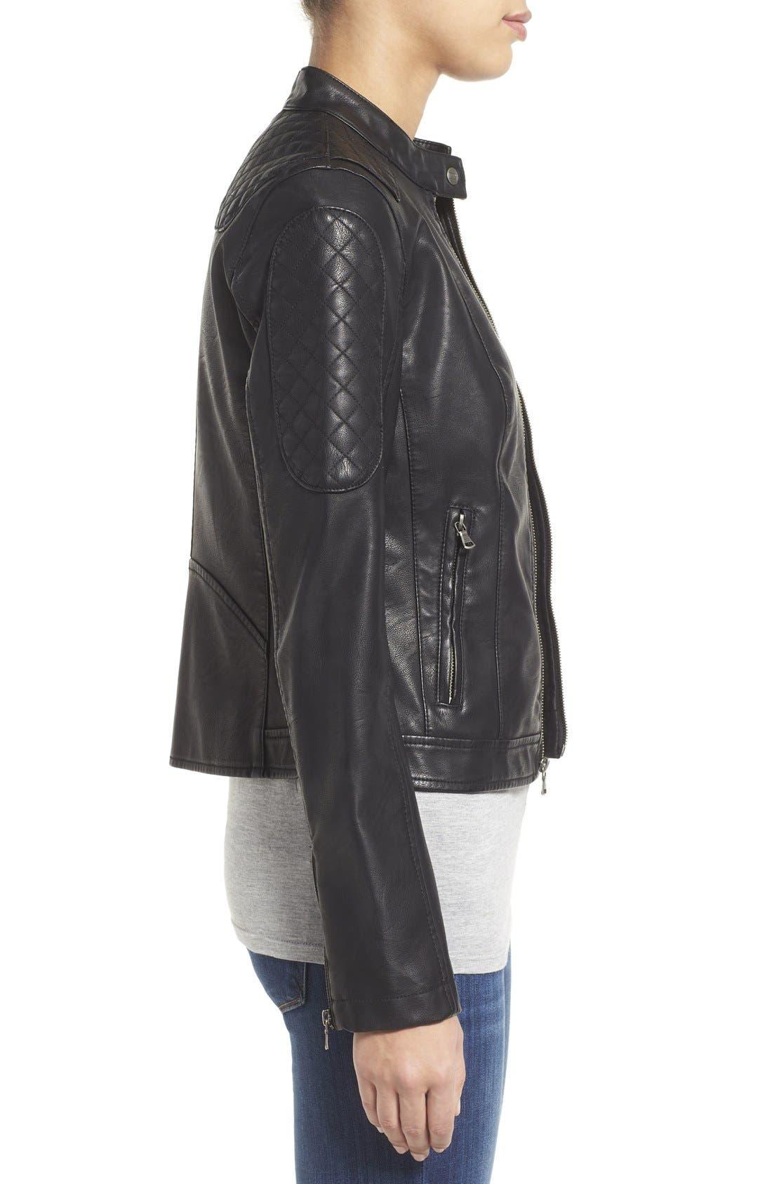 Quilt Detail Faux Leather Racer Jacket,                             Alternate thumbnail 4, color,                             001