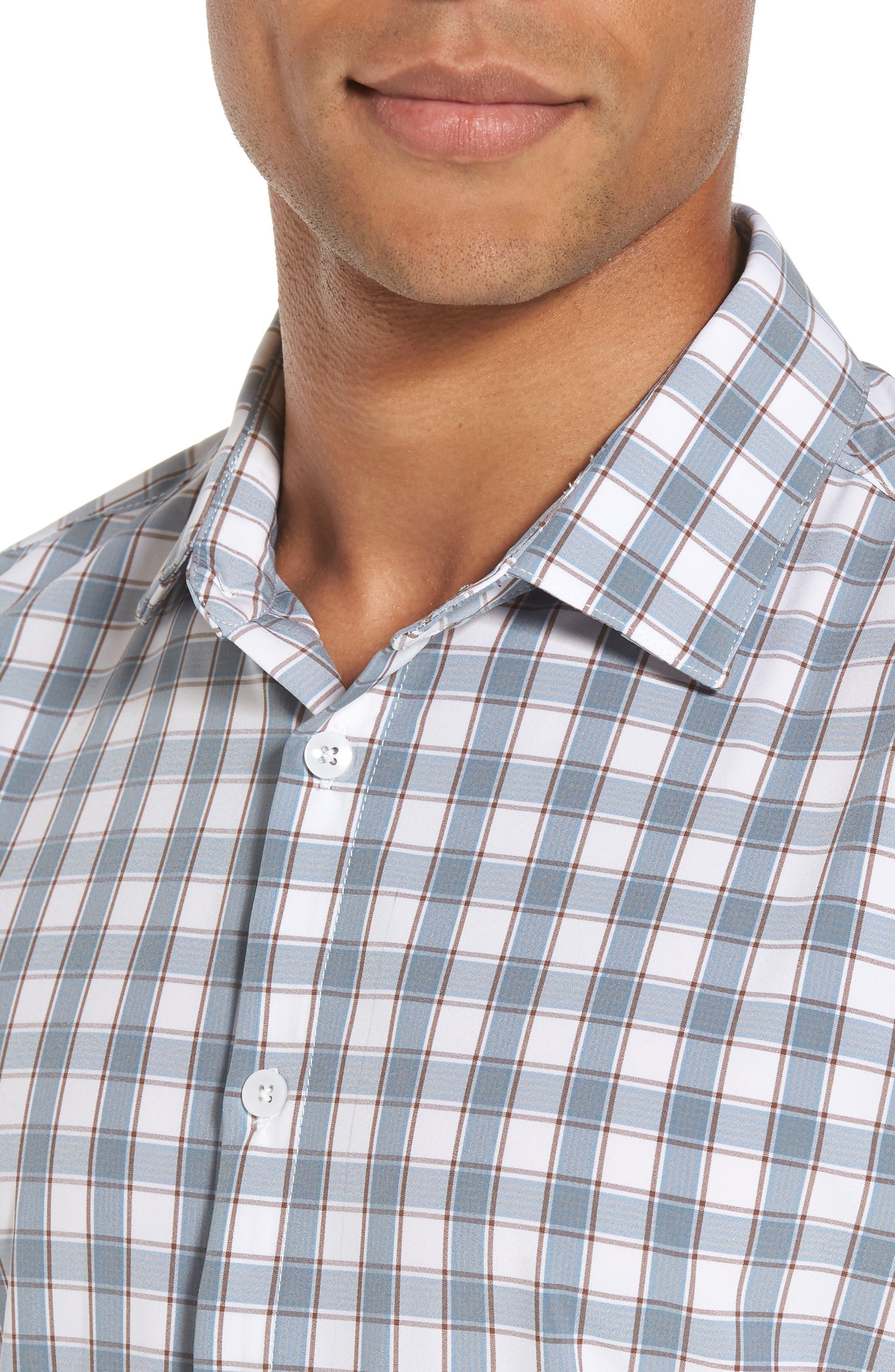 Covington Blue Shadow & Toffee Check Sport Shirt,                             Alternate thumbnail 4, color,                             400