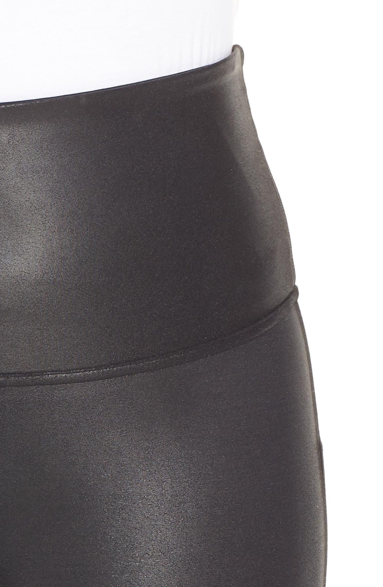 Faux Leather Bike Shorts,                             Alternate thumbnail 4, color,                             BLACK