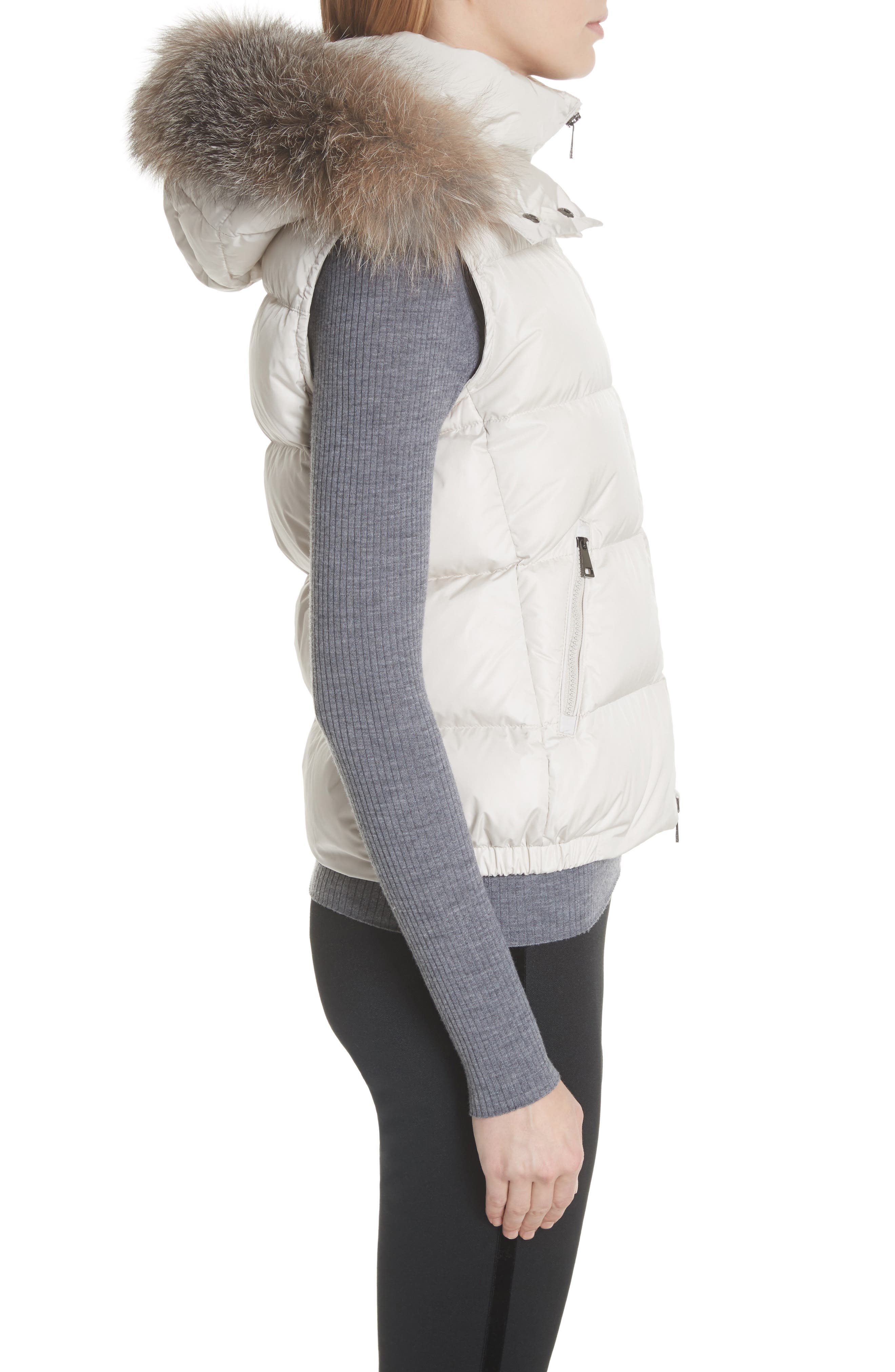 Gallinule Quilted Down Vest with Detachable Genuine Fox Fur Trim Hood,                             Alternate thumbnail 4, color,                             CHAMPAGNE