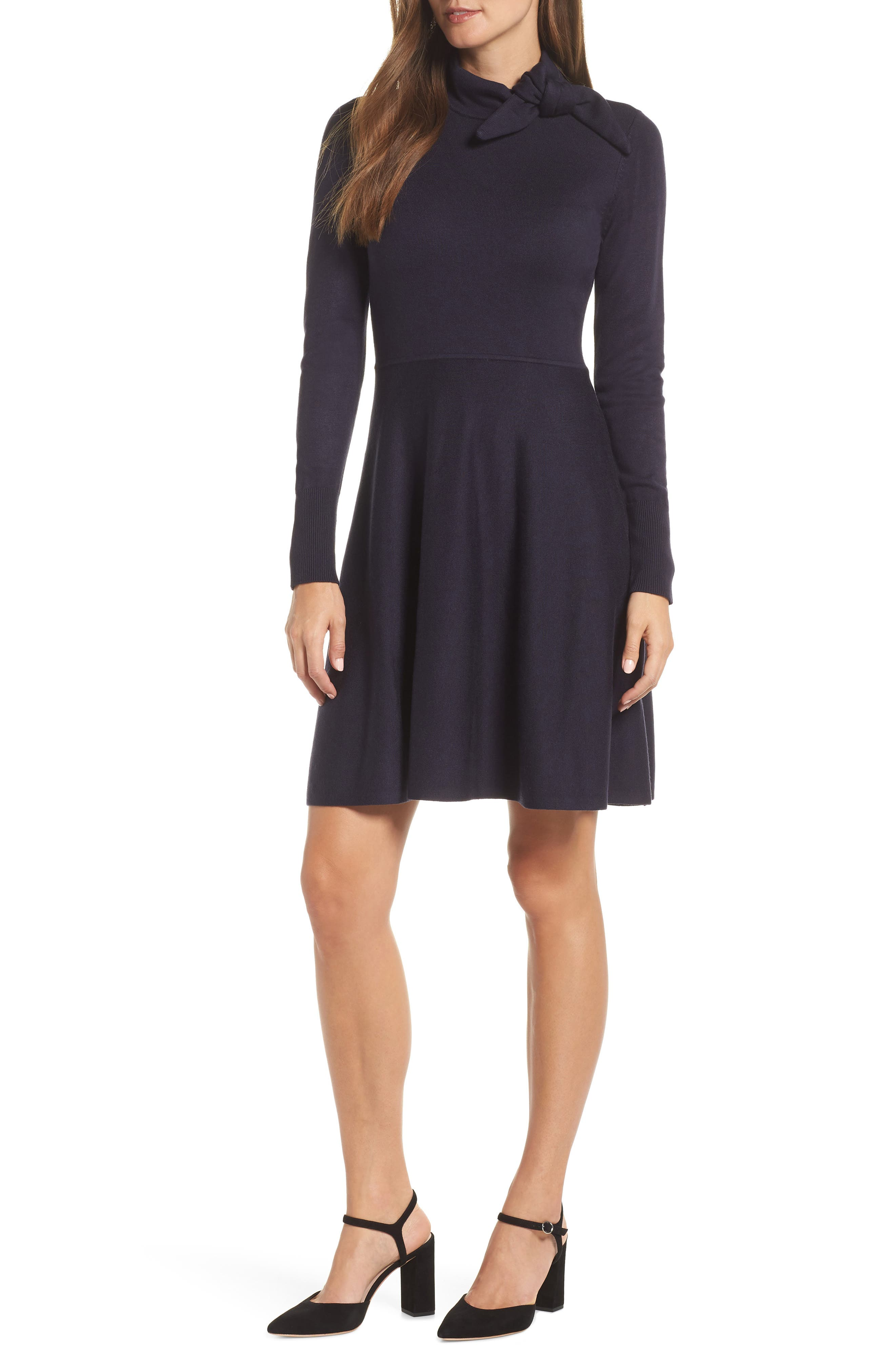 Tie Neck Fit & Flare Dress,                         Main,                         color, NAVY