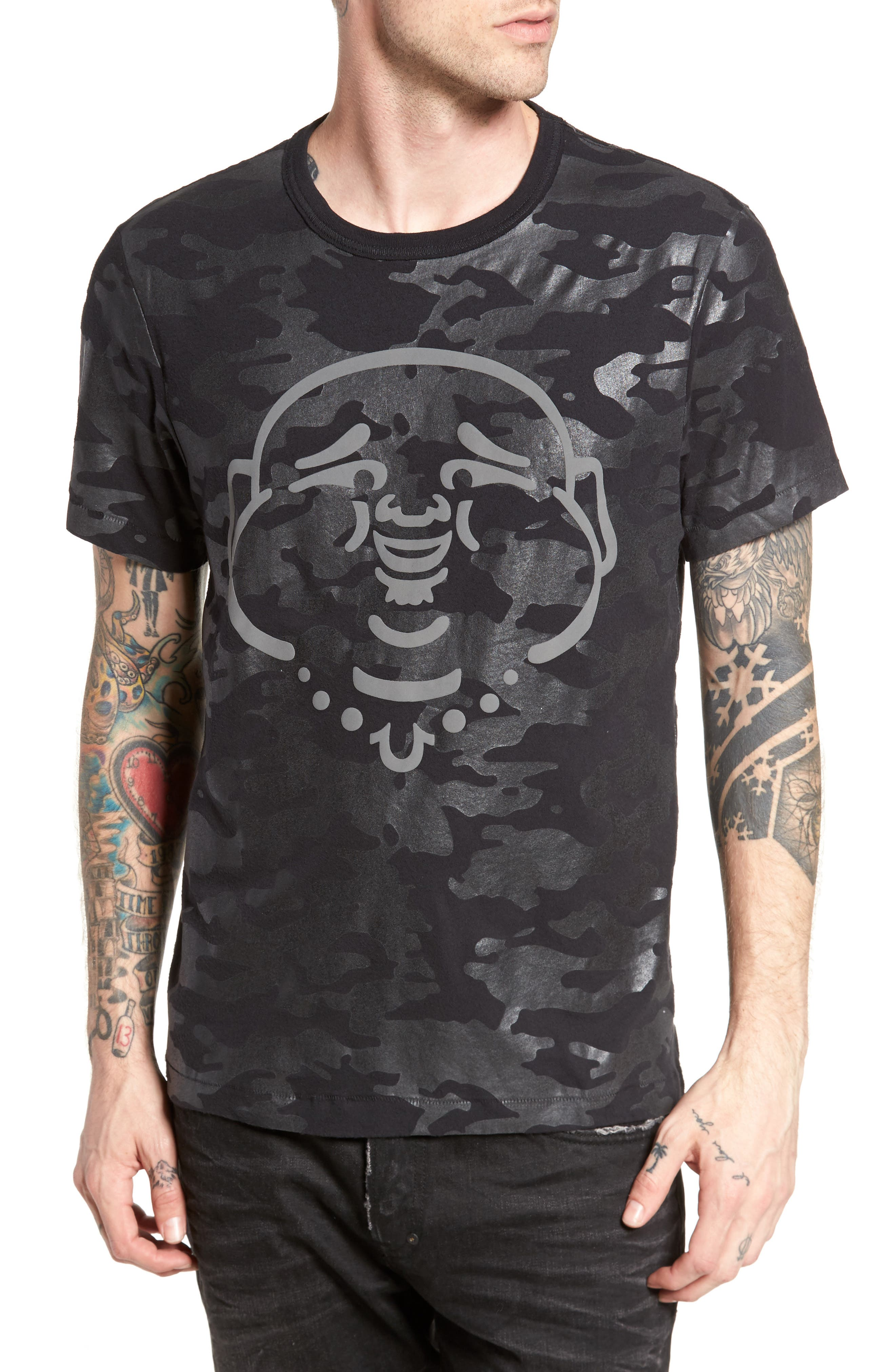 TRUE RELIGION BRAND JEANS,                             Buddha Graphic T-Shirt,                             Main thumbnail 1, color,                             001