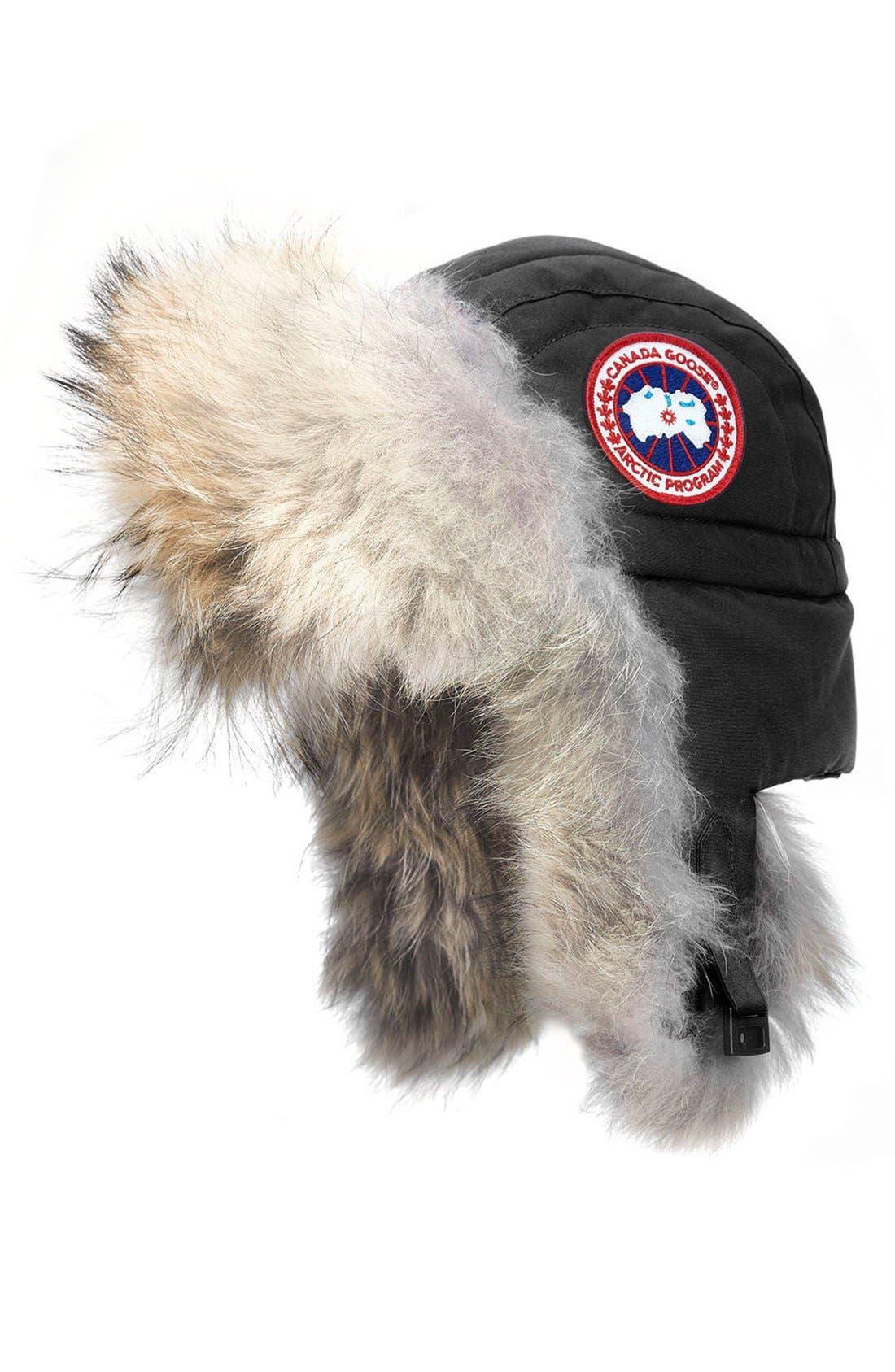 Aviator Hat with Genuine Coyote Fur Trim,                         Main,                         color, BLACK