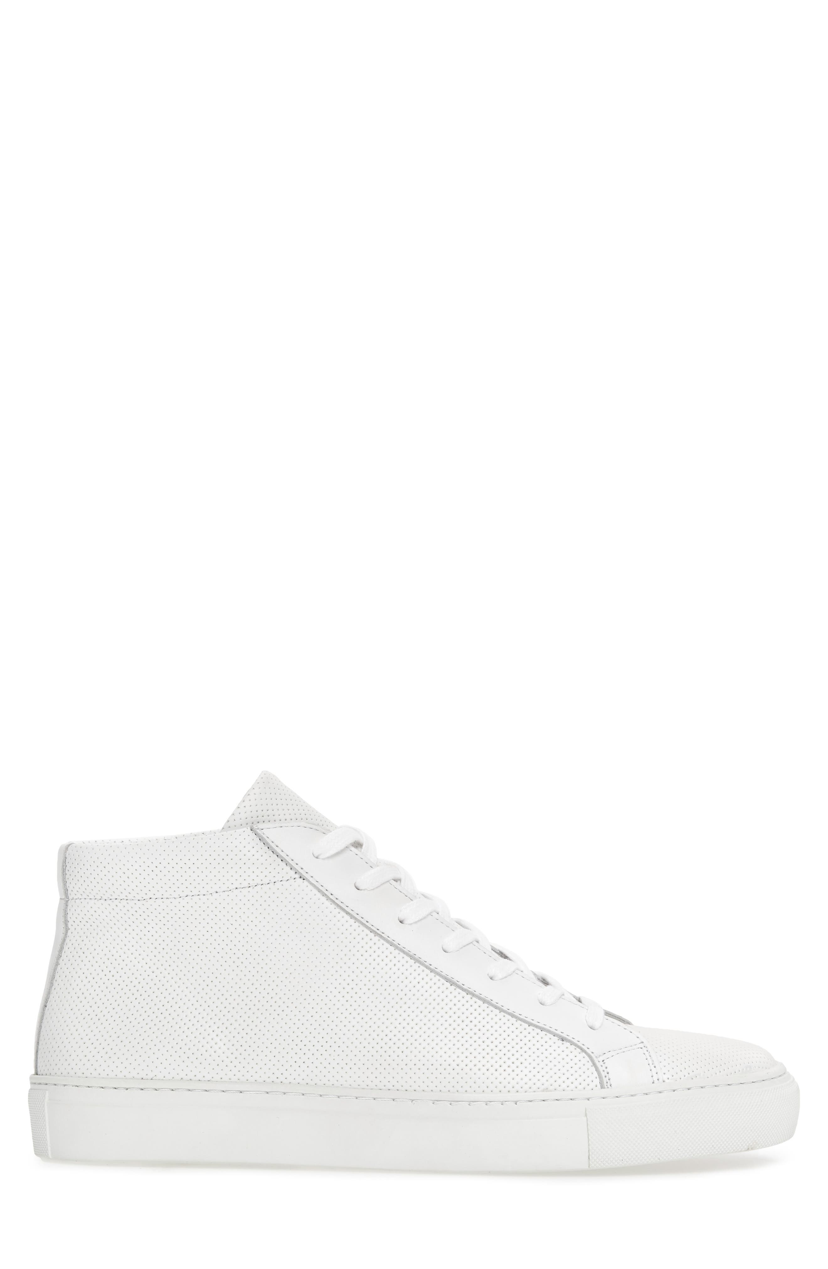 Deacon Mid Sneaker,                             Alternate thumbnail 3, color,                             WHITE PERFORATED LEATHER