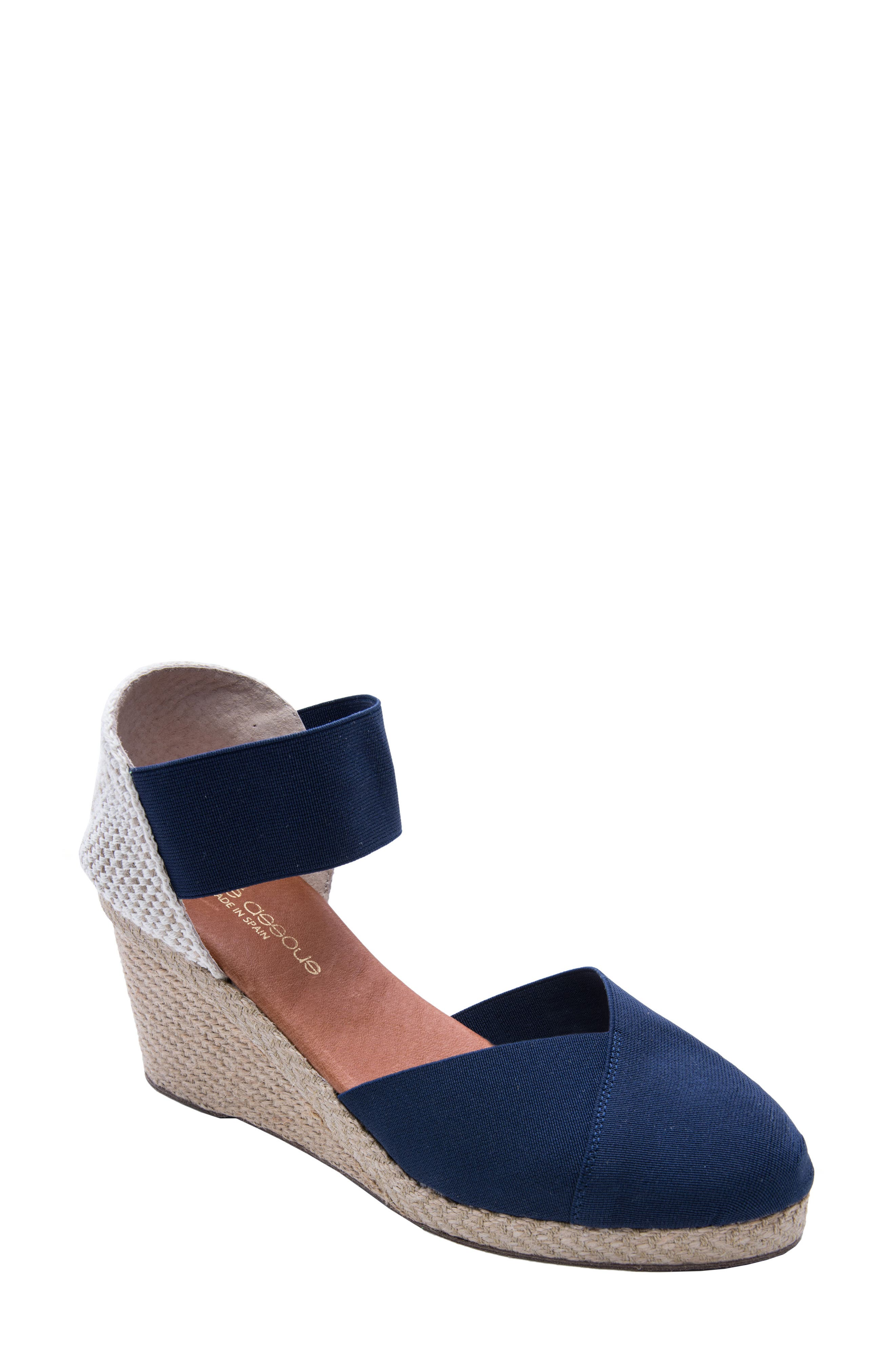 ANDRE ASSOUS Anouka Espadrille Wedge in Navy Fabric