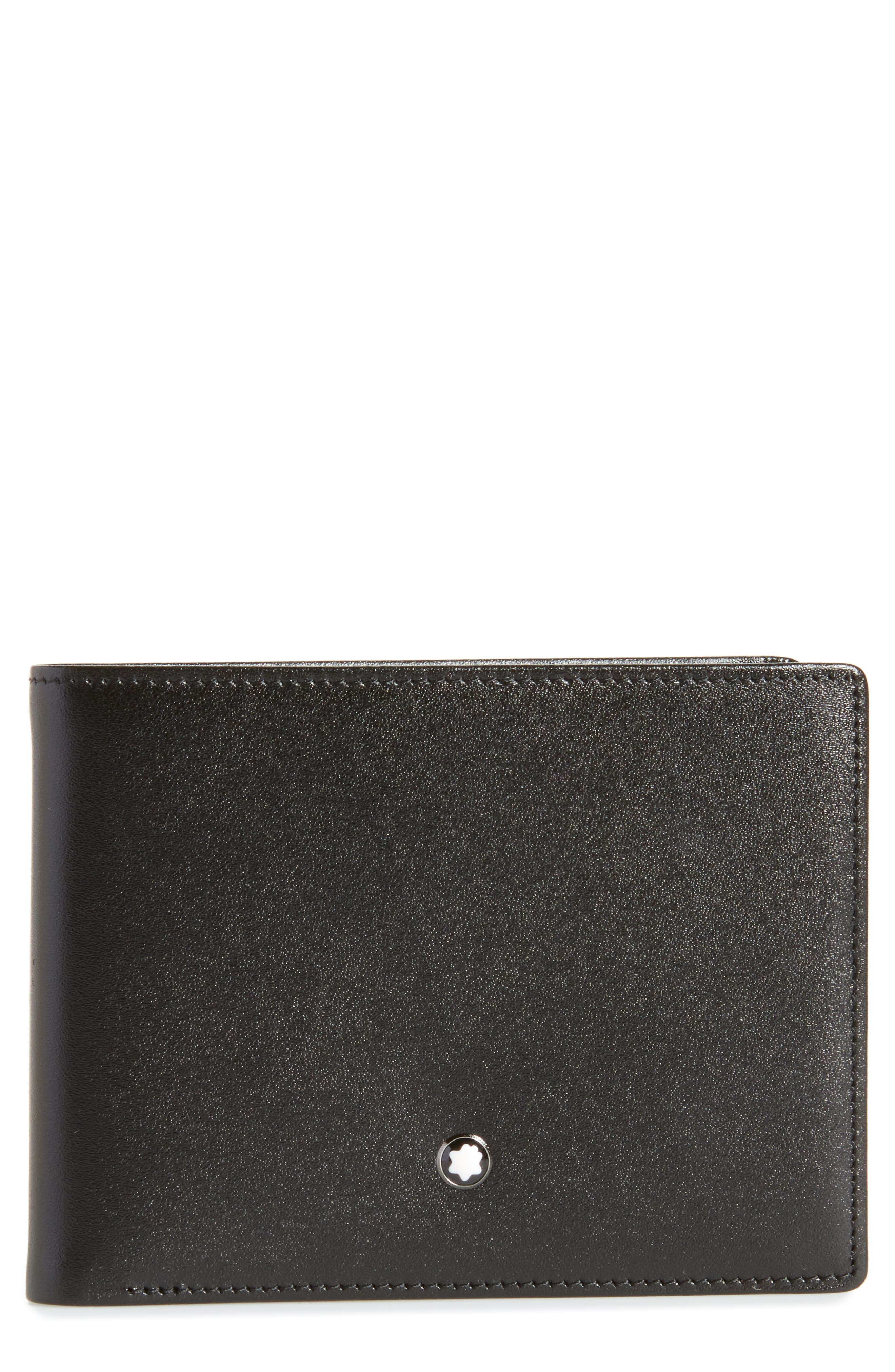 Bifold Leather Wallet,                             Main thumbnail 1, color,                             001