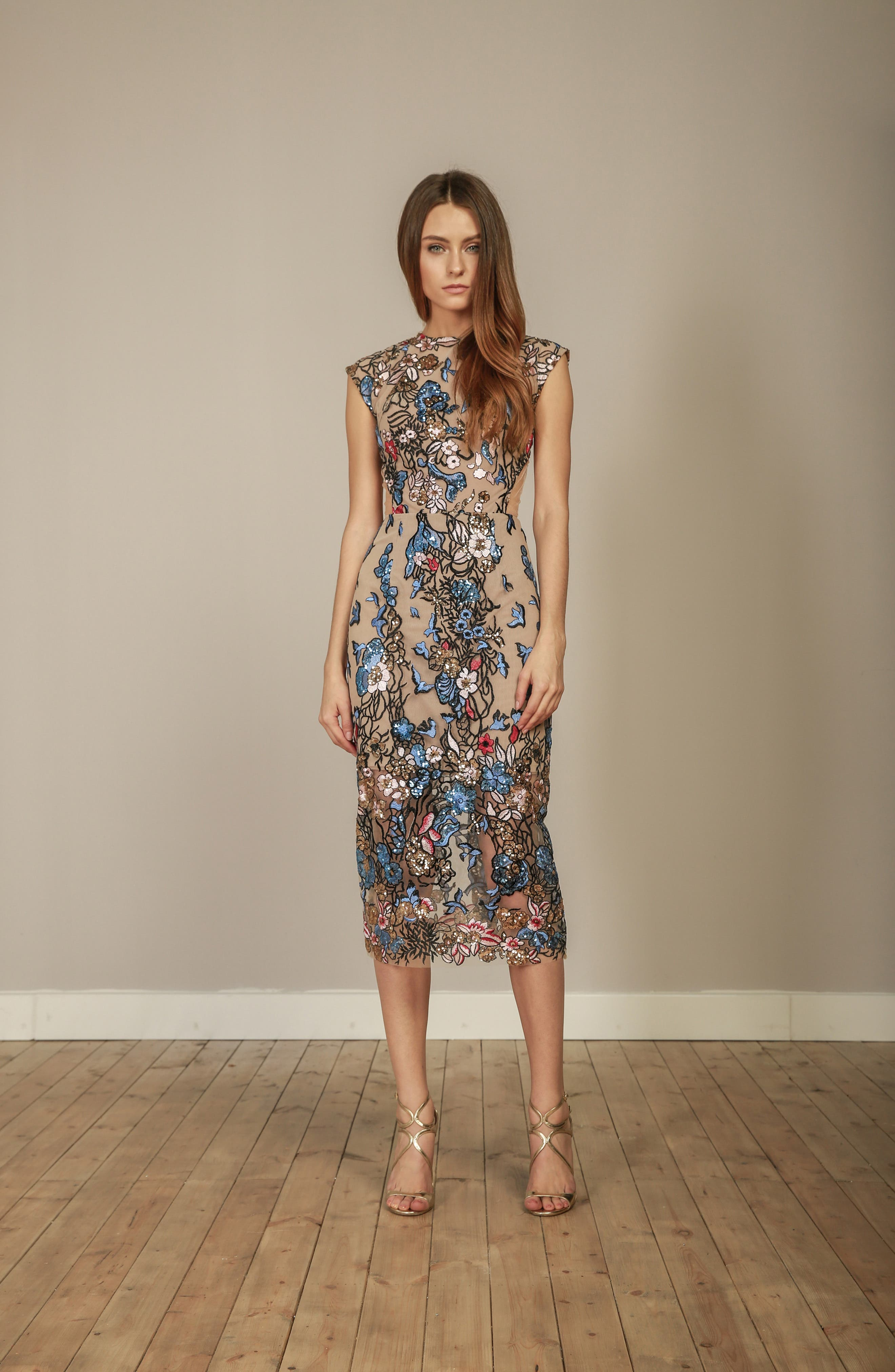 Bird of Paradise Sequin Embroidered Midi Dress,                             Alternate thumbnail 7, color,                             259