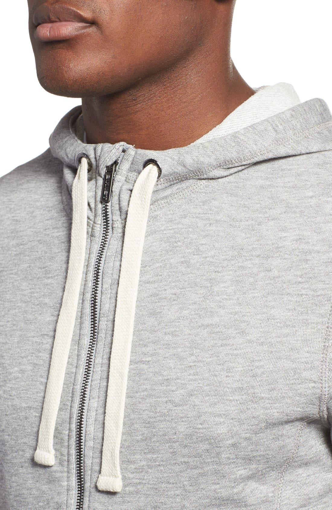 'Terry' Cotton Blend Zip Hoodie,                             Alternate thumbnail 4, color,                             LIGHT GREY HEATHER