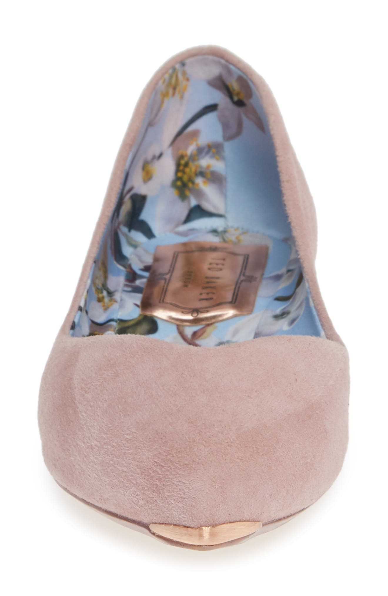 TED BAKER LONDON,                             Mancies Pointy Toe Flat,                             Alternate thumbnail 4, color,                             WINTER ROSE SUEDE